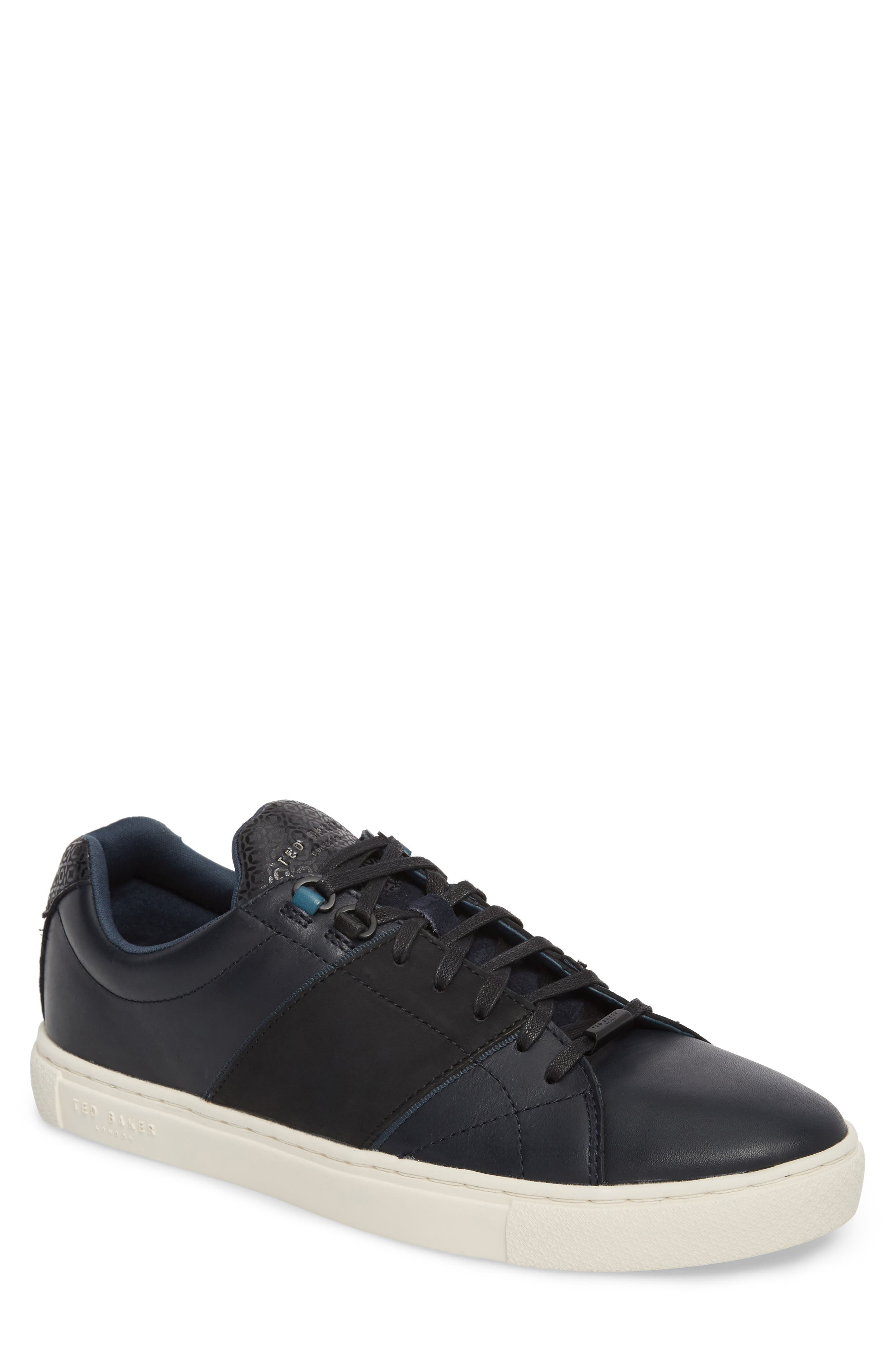 Ted Baker Quana Low Top Sneaker,                             Main thumbnail 1, color,                             Dark Blue Leather
