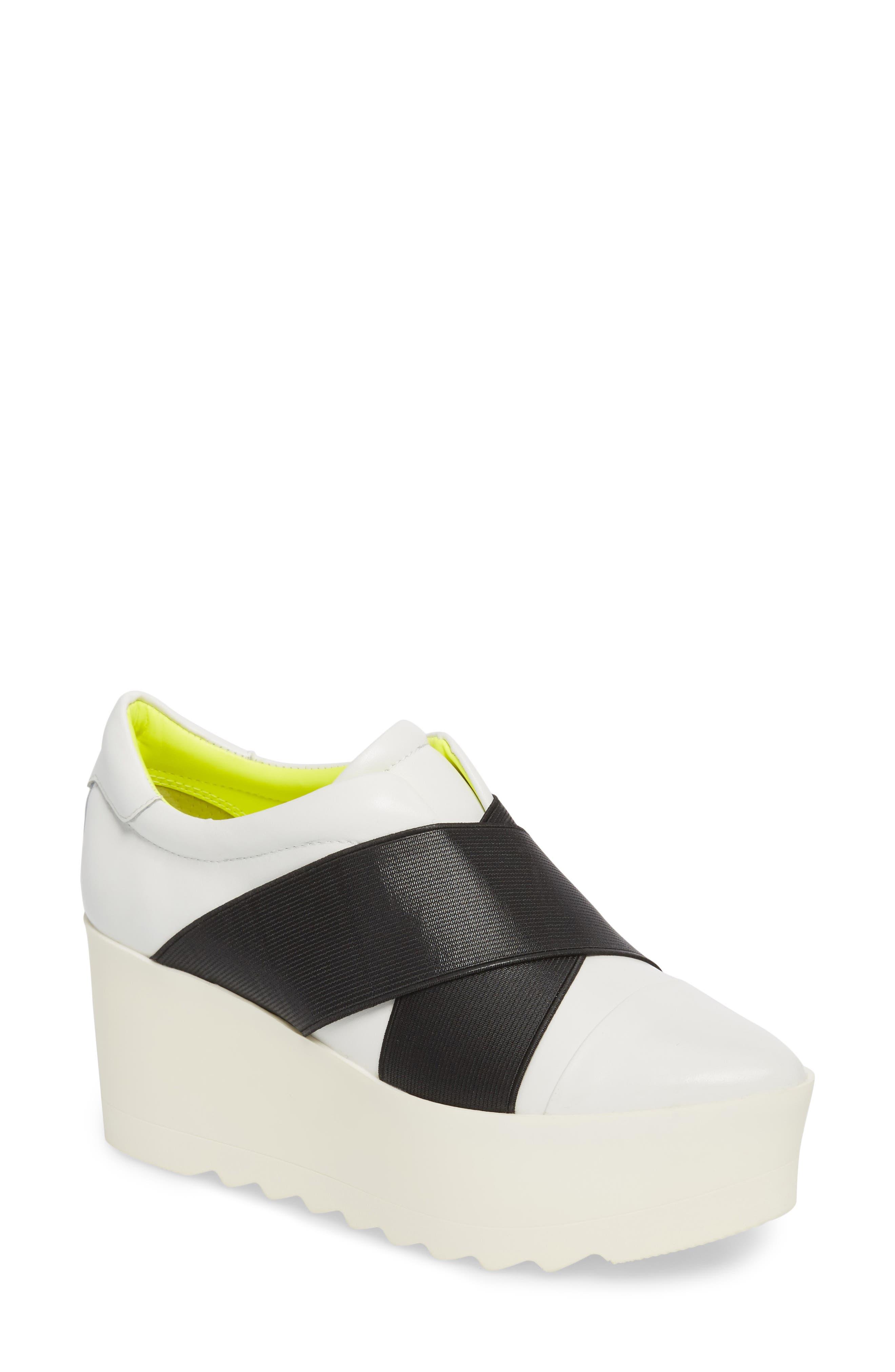 Tasha Platform Slip-On Sneaker,                             Main thumbnail 1, color,                             White Leather