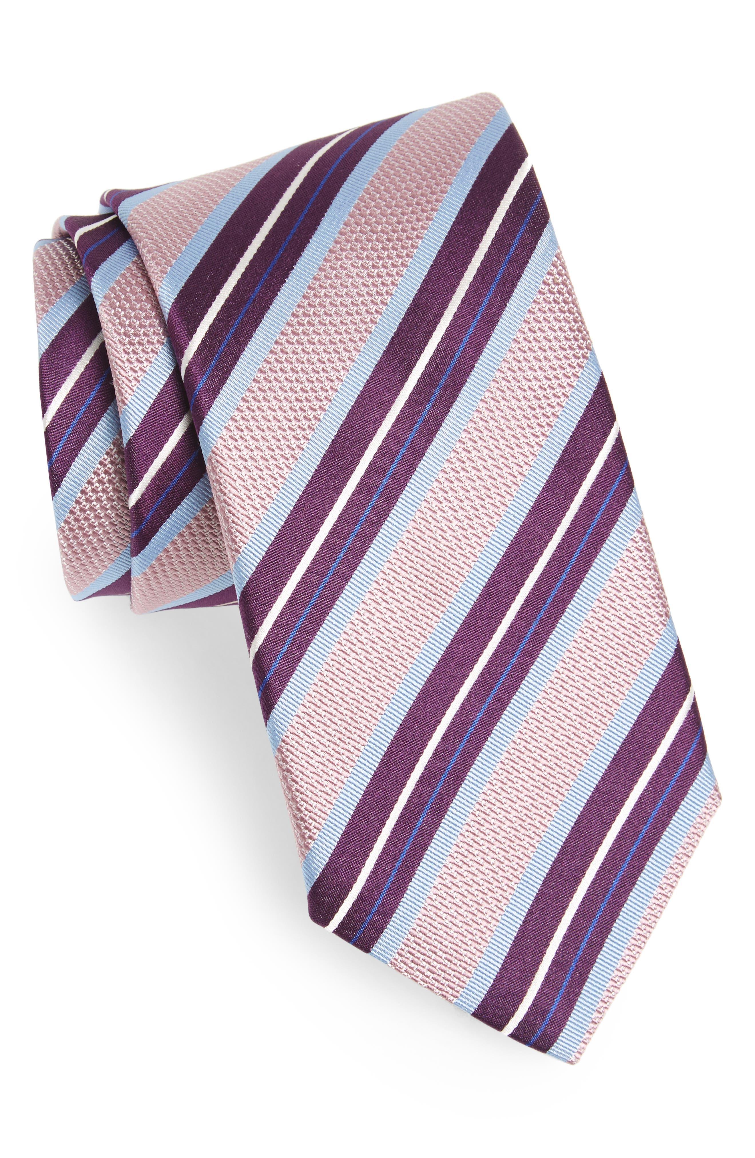 Stripe Silk Tie,                             Main thumbnail 1, color,                             Pink