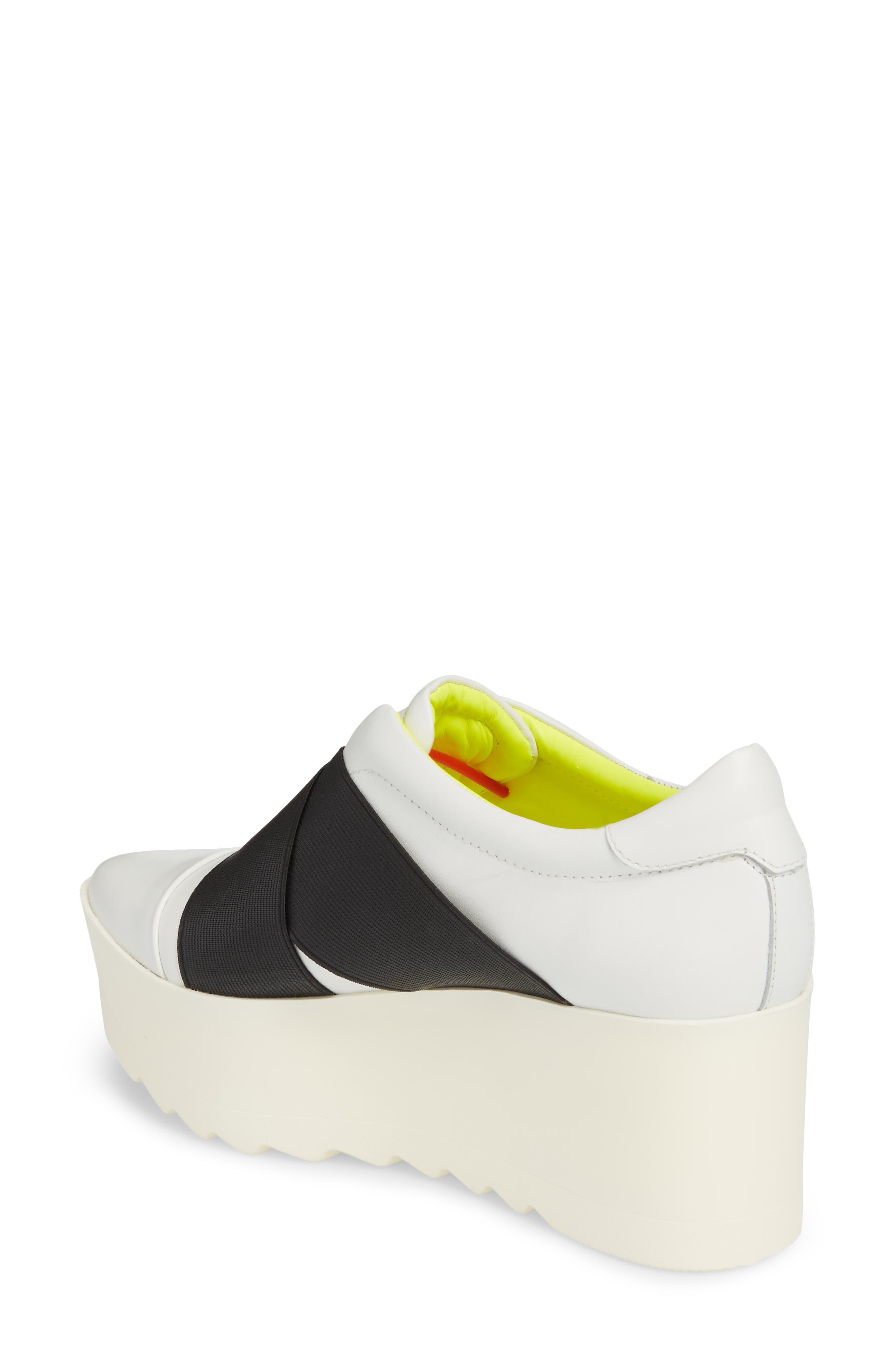 Tasha Platform Slip-On Sneaker,                             Alternate thumbnail 2, color,                             White Leather
