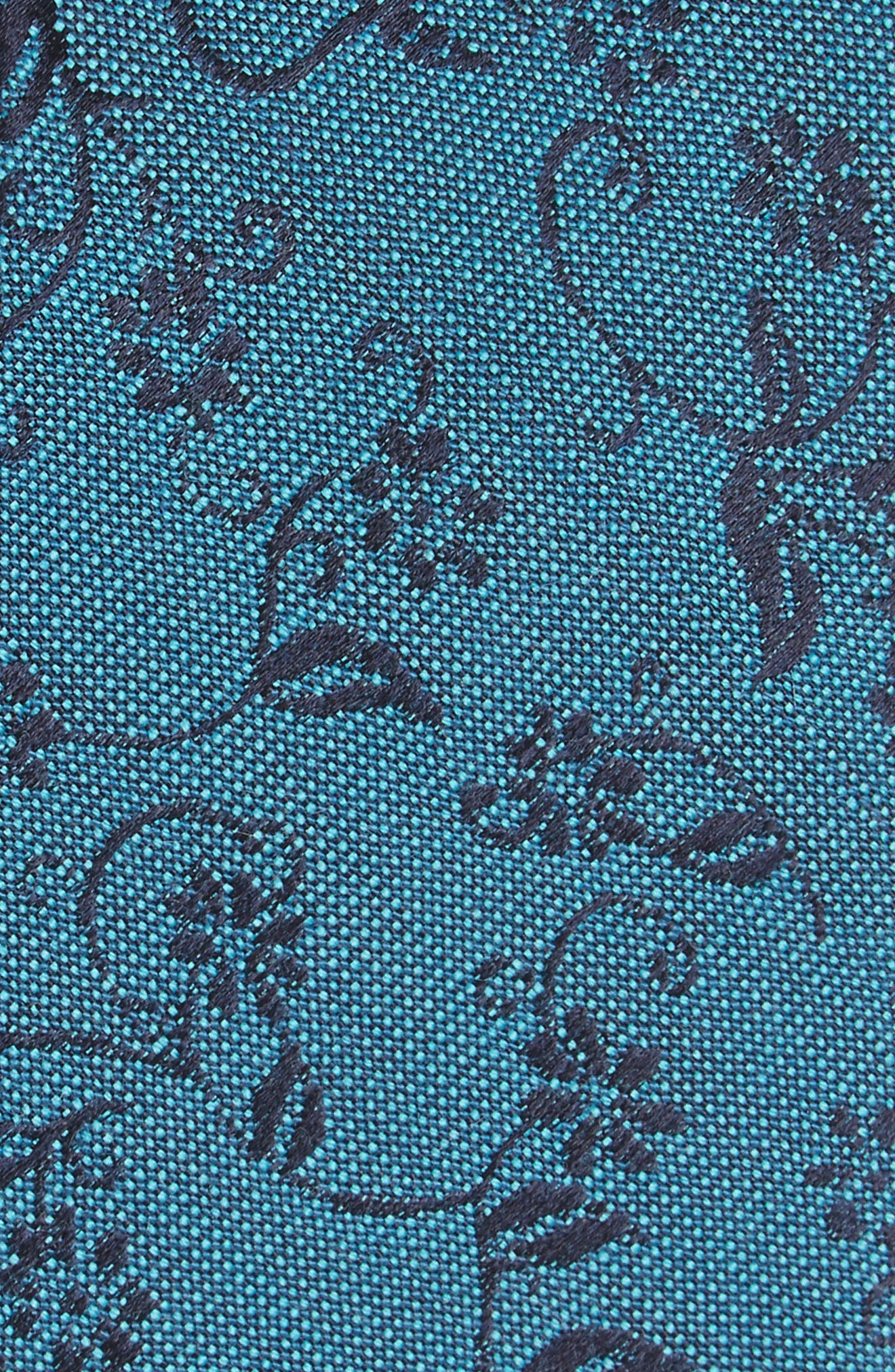 Emerson Floral Wool & Silk Tie,                             Alternate thumbnail 2, color,                             Teal
