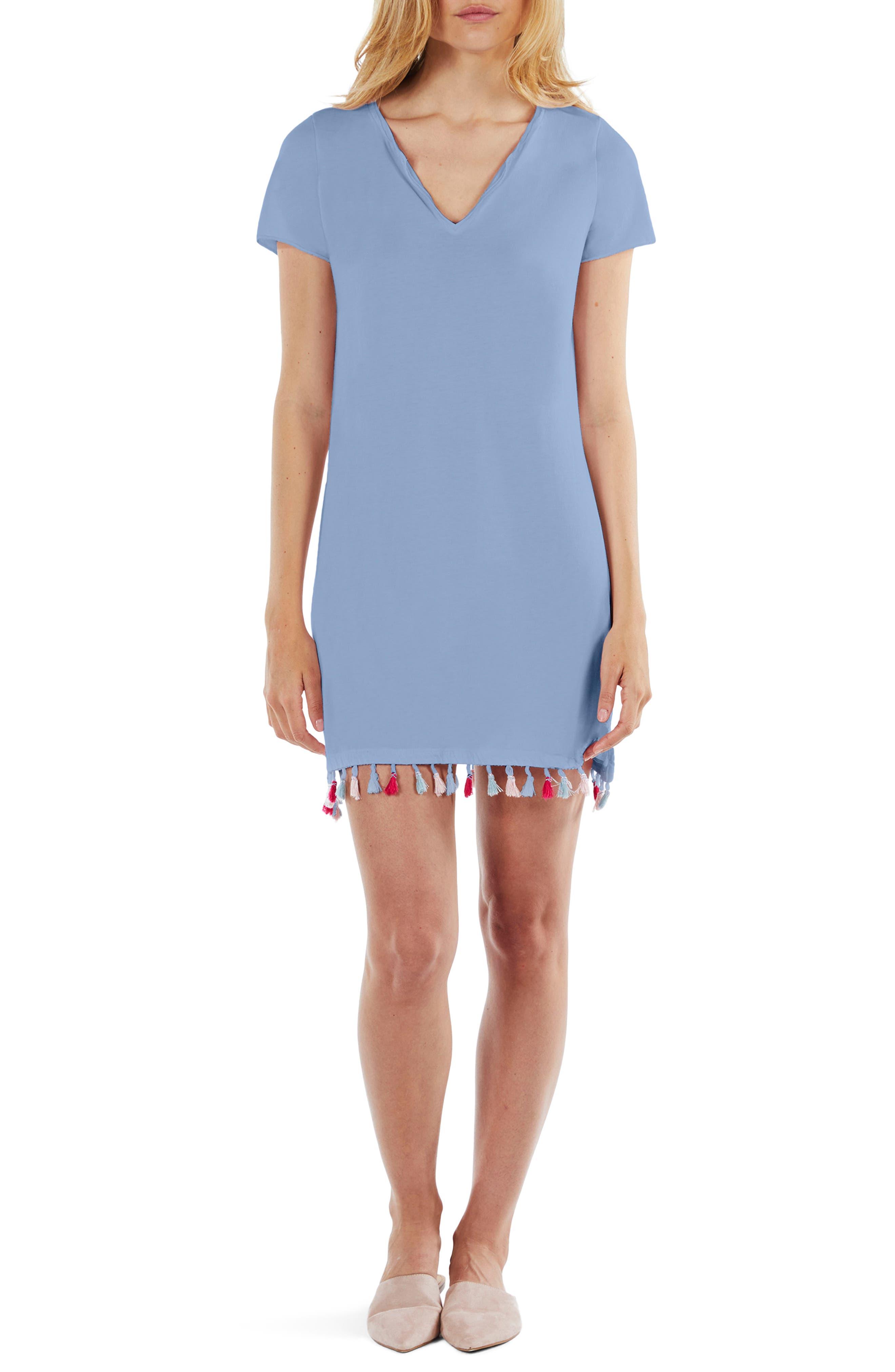 Tassel Fringe Shift Dress,                         Main,                         color, Sea Breeze