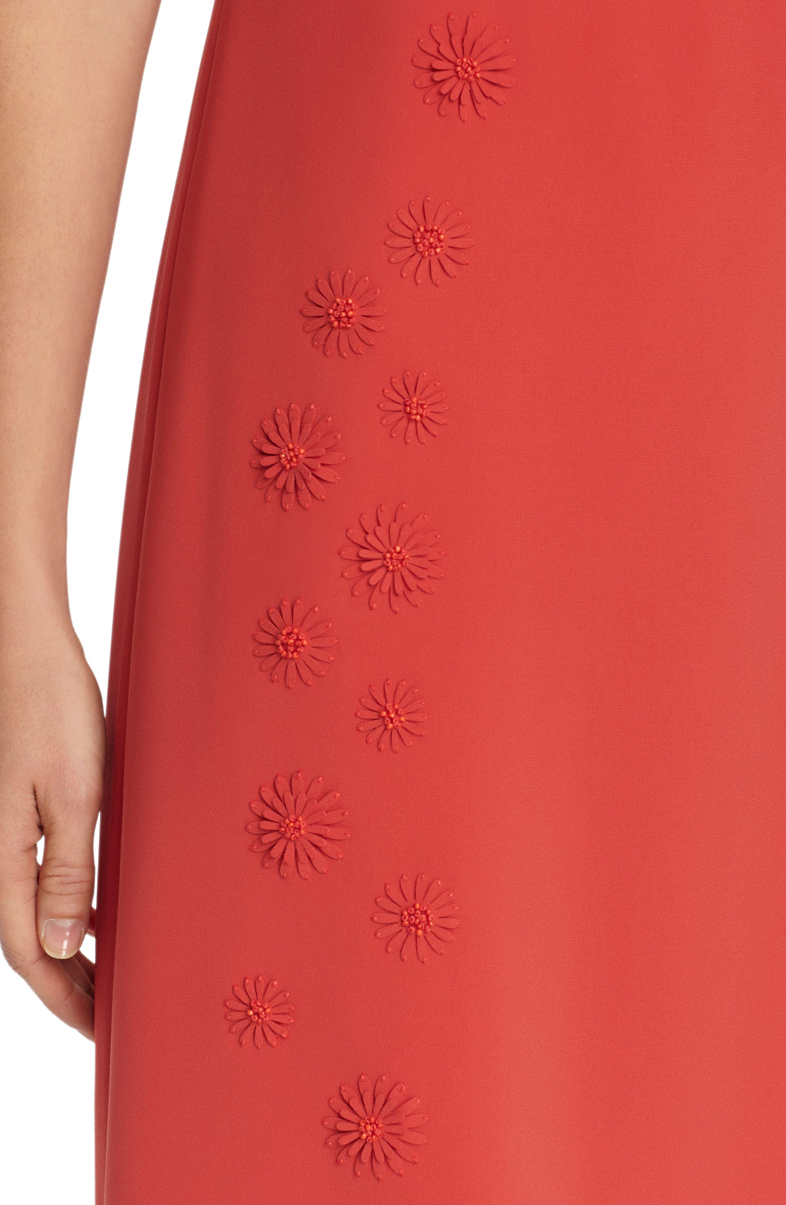 Cheyenne Floral Embellished A-Line Dress,                             Alternate thumbnail 4, color,                             Salsa
