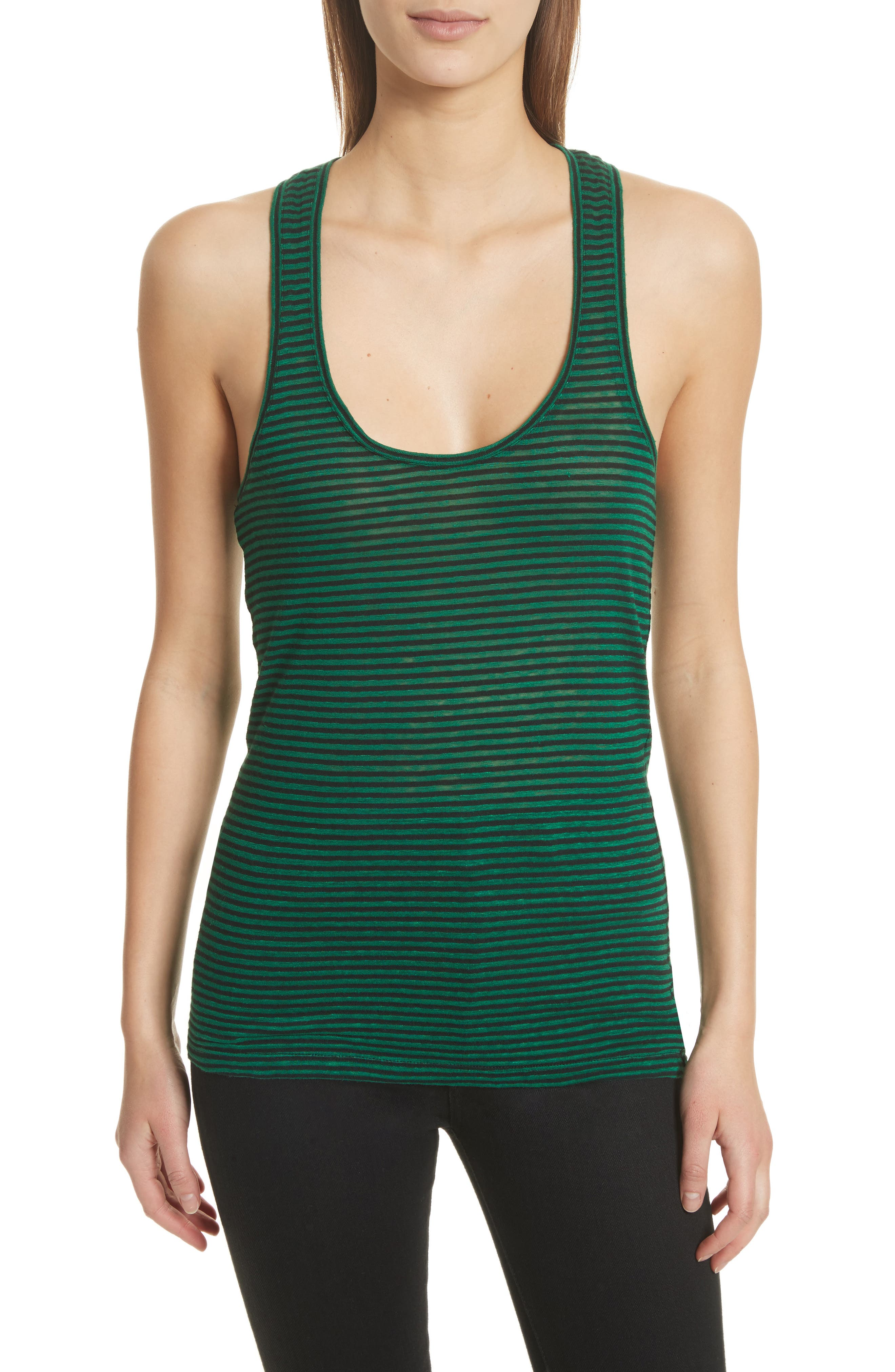 Isabel Marant Étoile Avien Stripe Cotton & Linen Tank,                         Main,                         color, Green