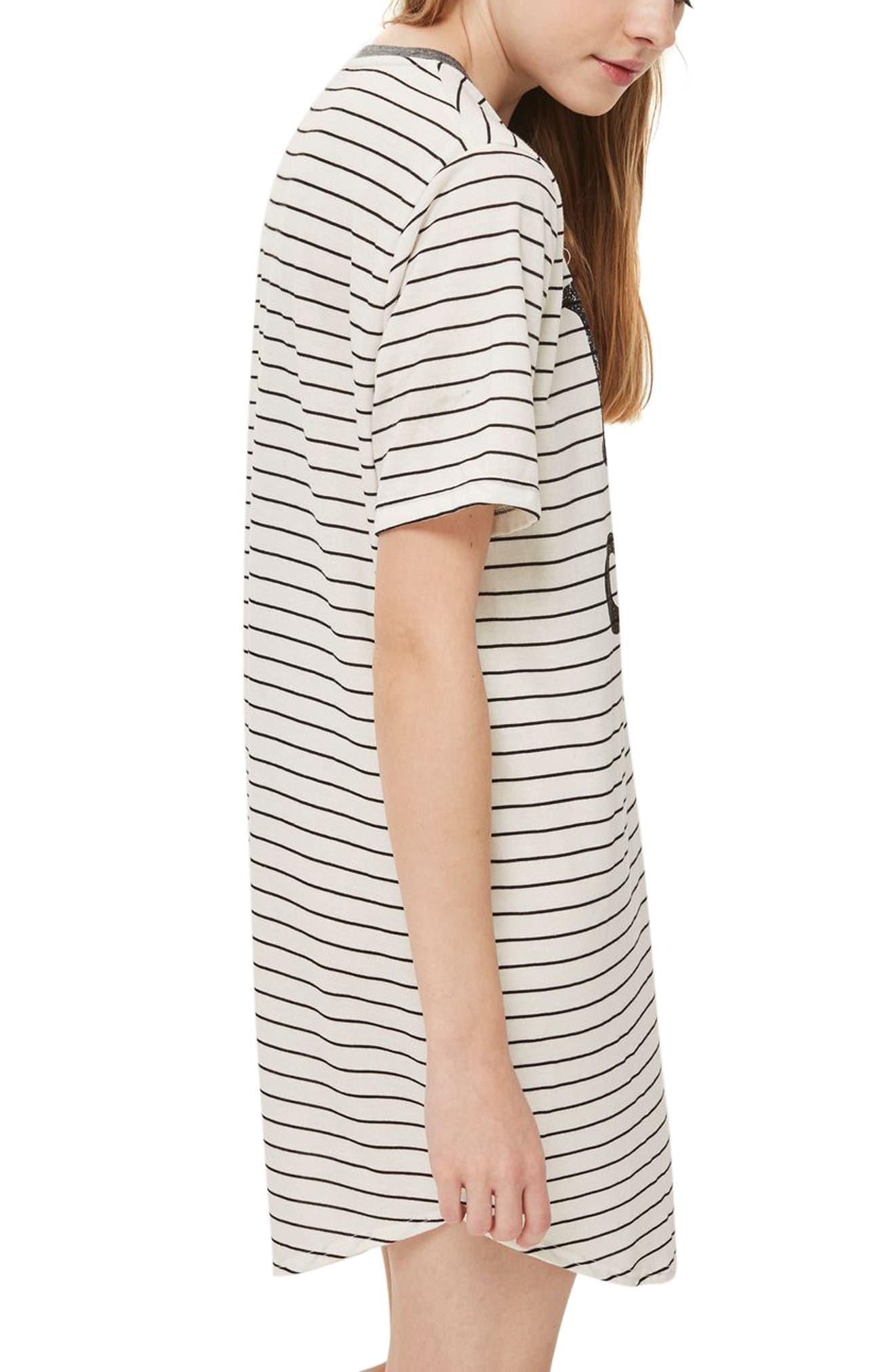 I Love Coffee Sleep T-Shirt Dress,                             Alternate thumbnail 2, color,                             White Multi