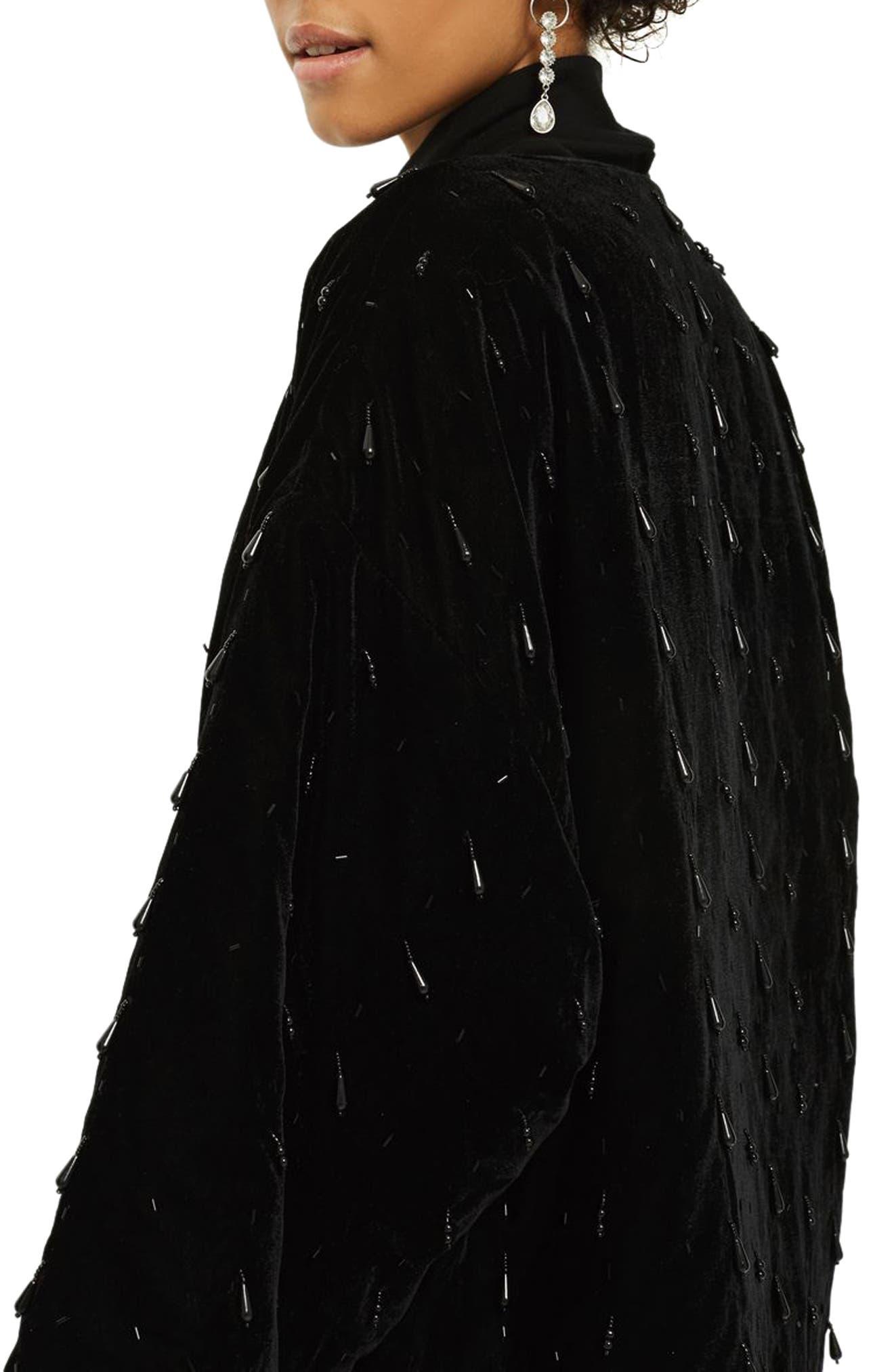 Noelle Beaded Velvet Kimono,                             Alternate thumbnail 3, color,                             Black