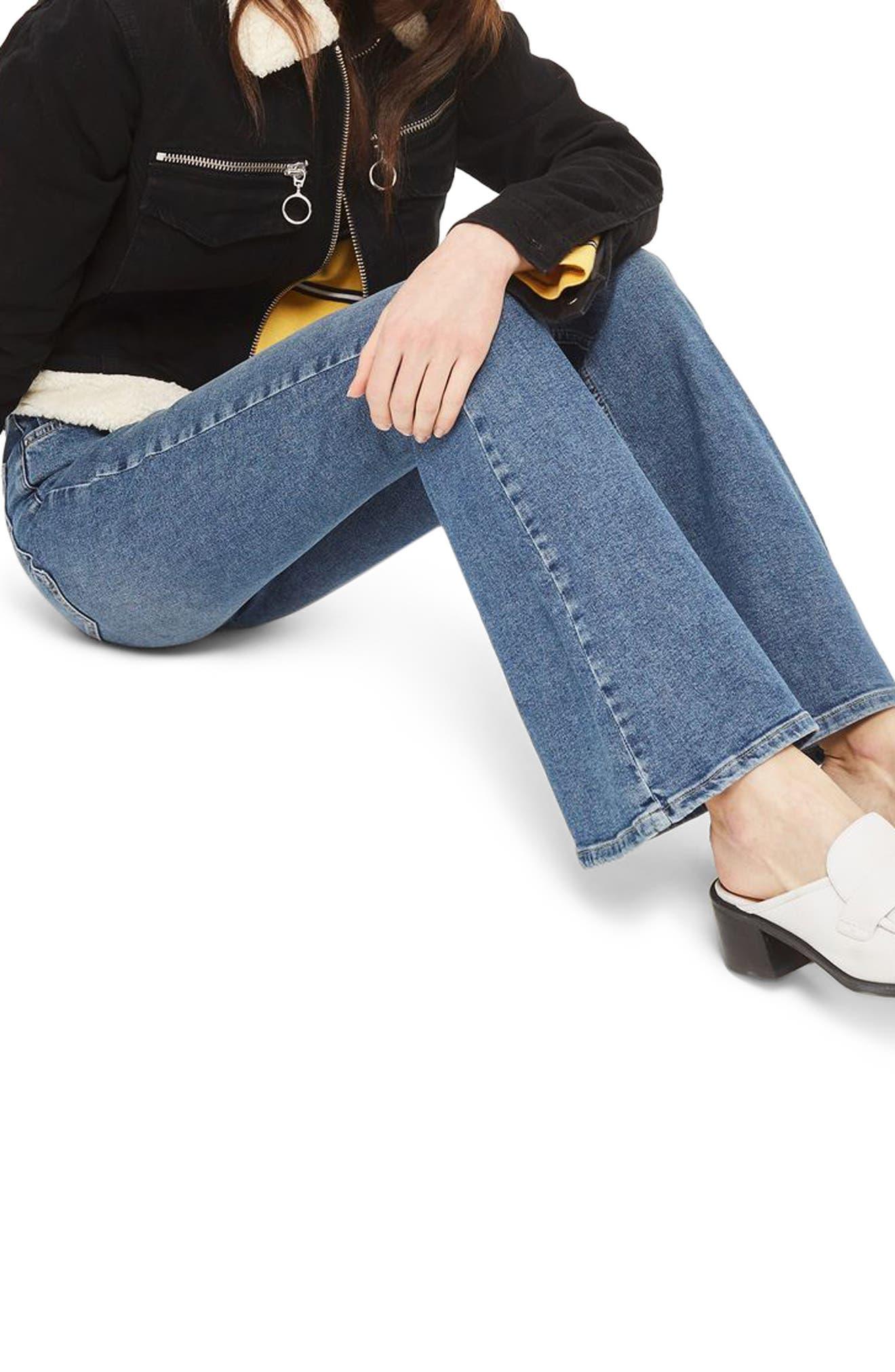 Jamie Flare Leg Jeans,                             Alternate thumbnail 3, color,                             Mid Denim