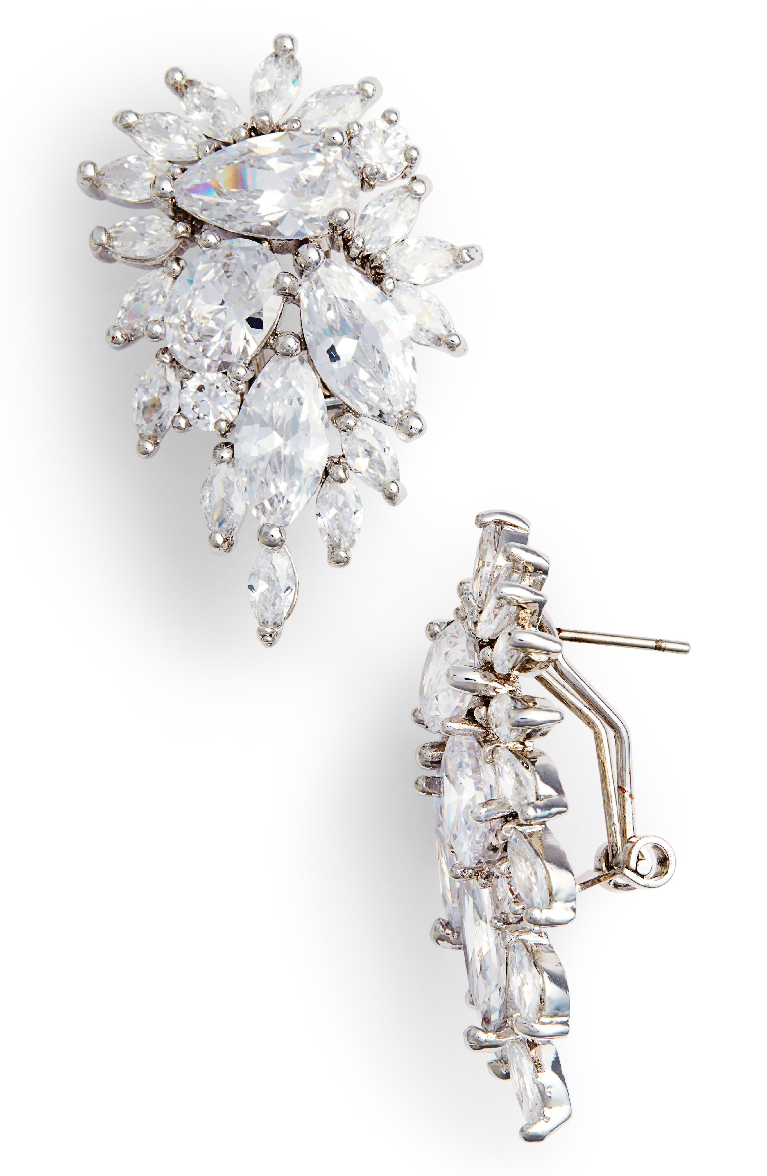 Cluster Omega Clip Earrings,                         Main,                         color, Silver/ White Cz