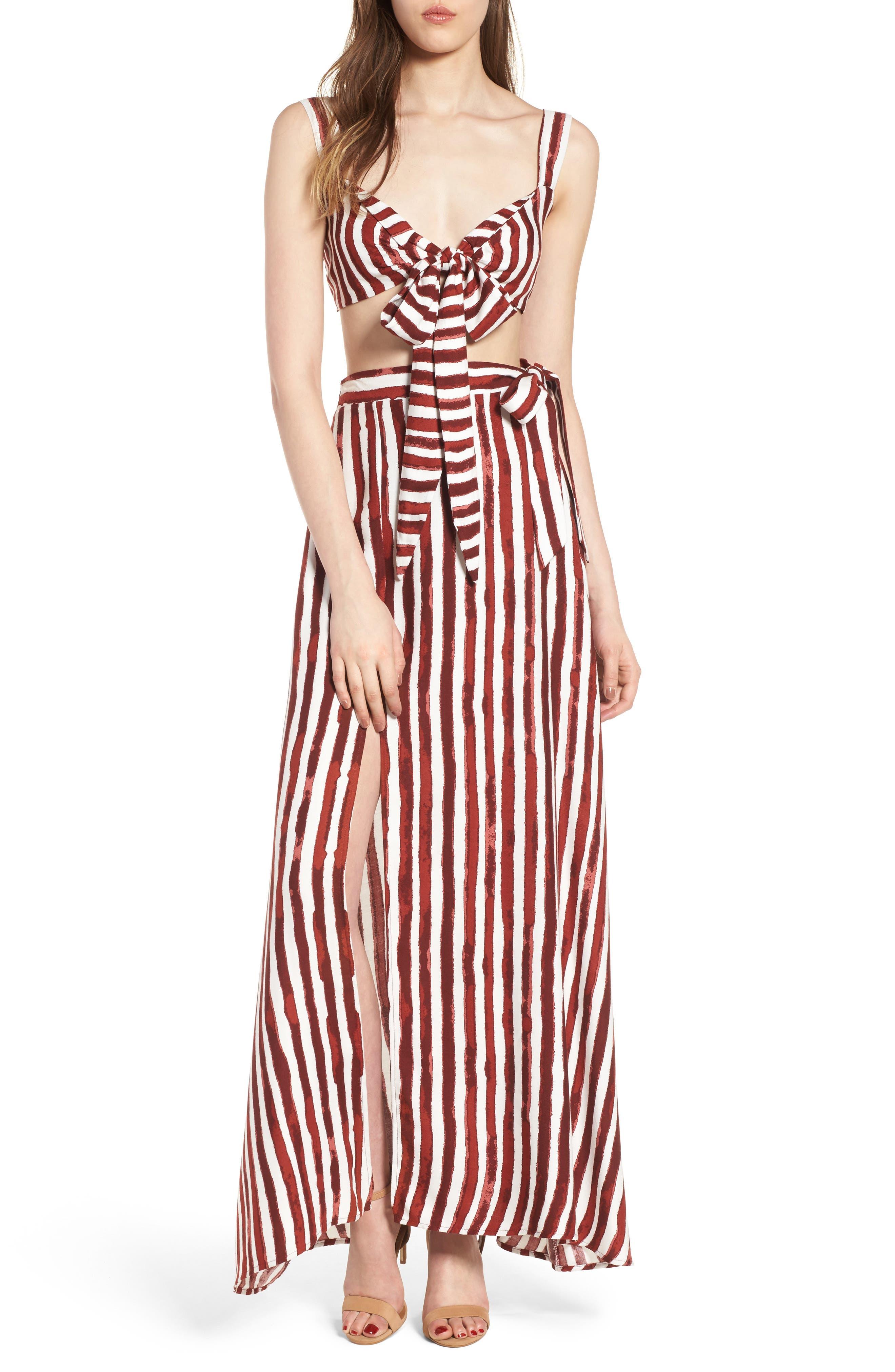 Maxi Skirt,                             Alternate thumbnail 3, color,                             Burgundy/ Ivory