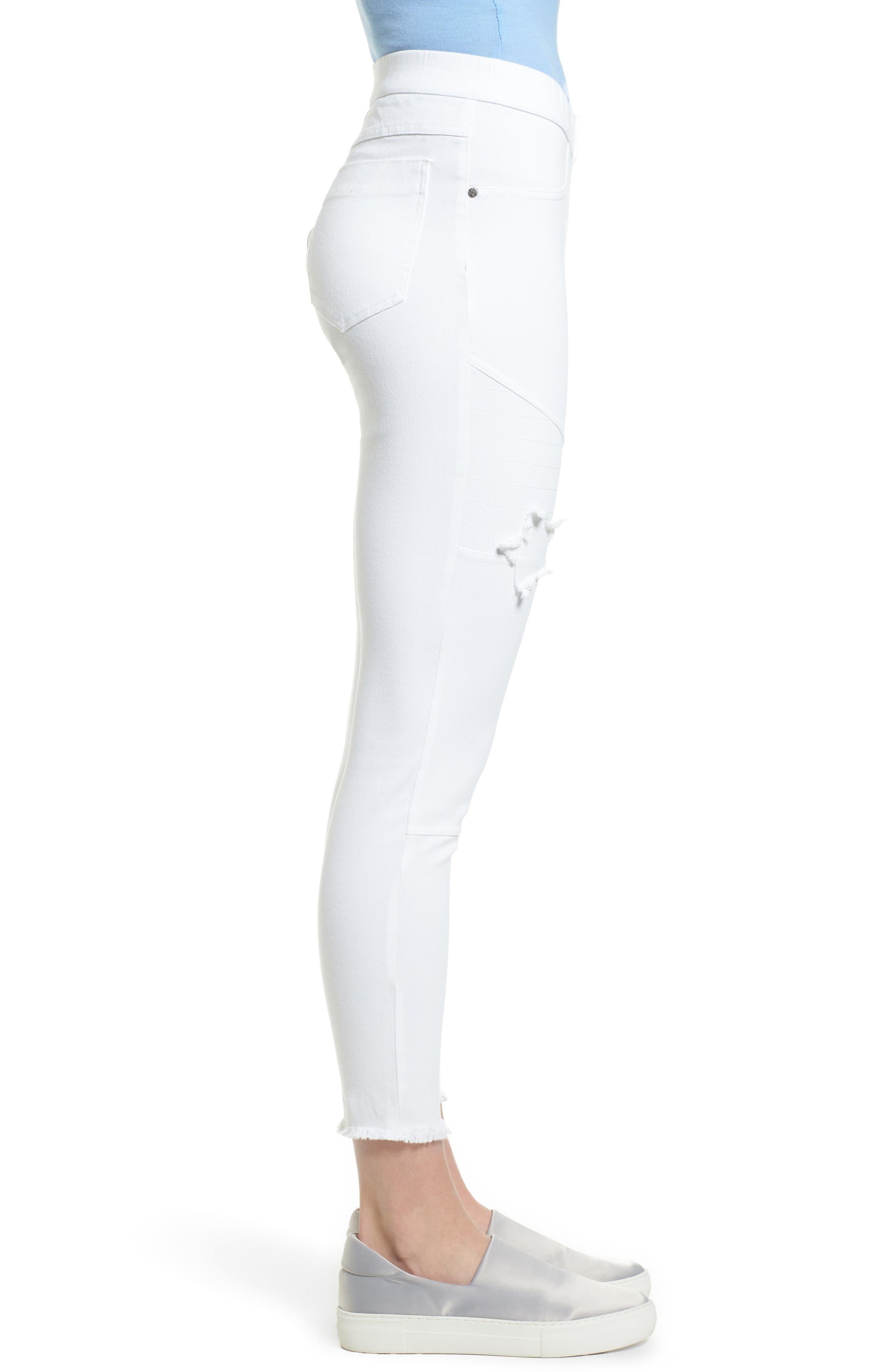 Star Patch Denim Moto Skimmer Leggings,                             Alternate thumbnail 3, color,                             White