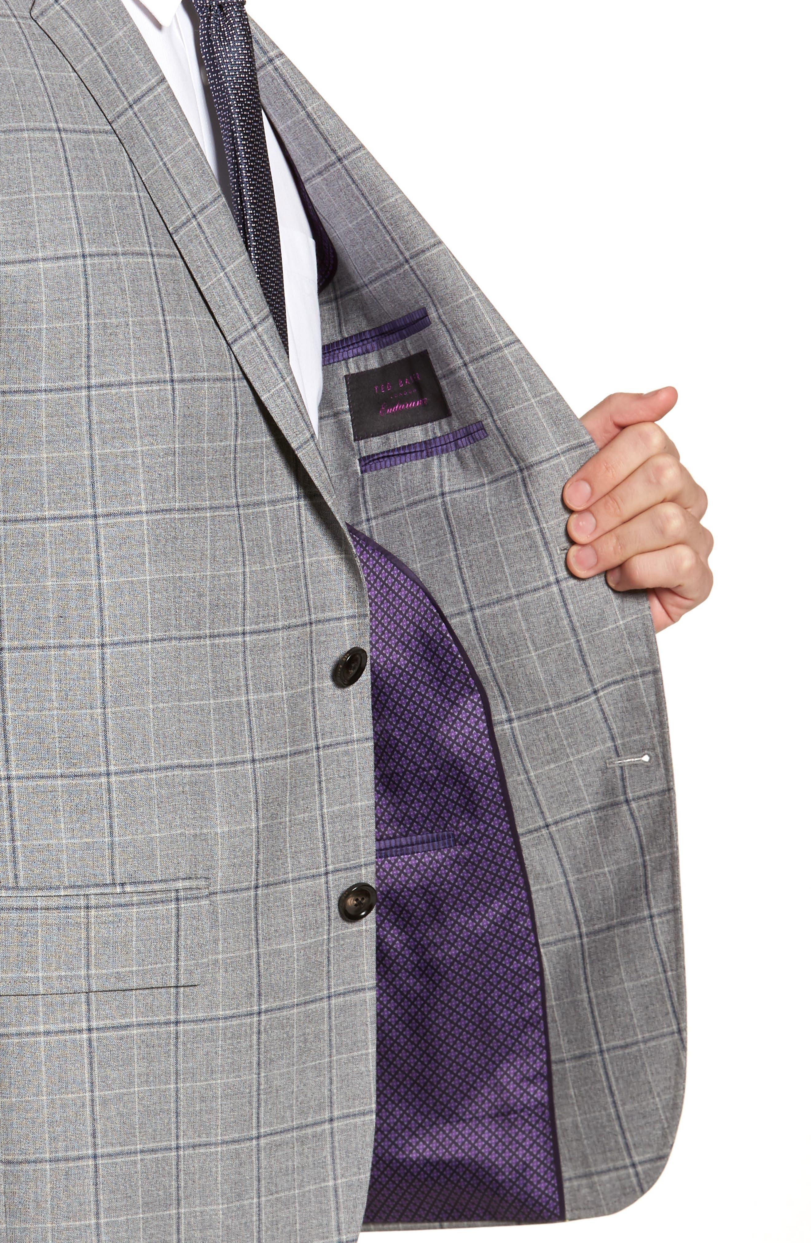 Jay Trim Fit Plaid Wool Sport Coat,                             Alternate thumbnail 4, color,                             Light Grey
