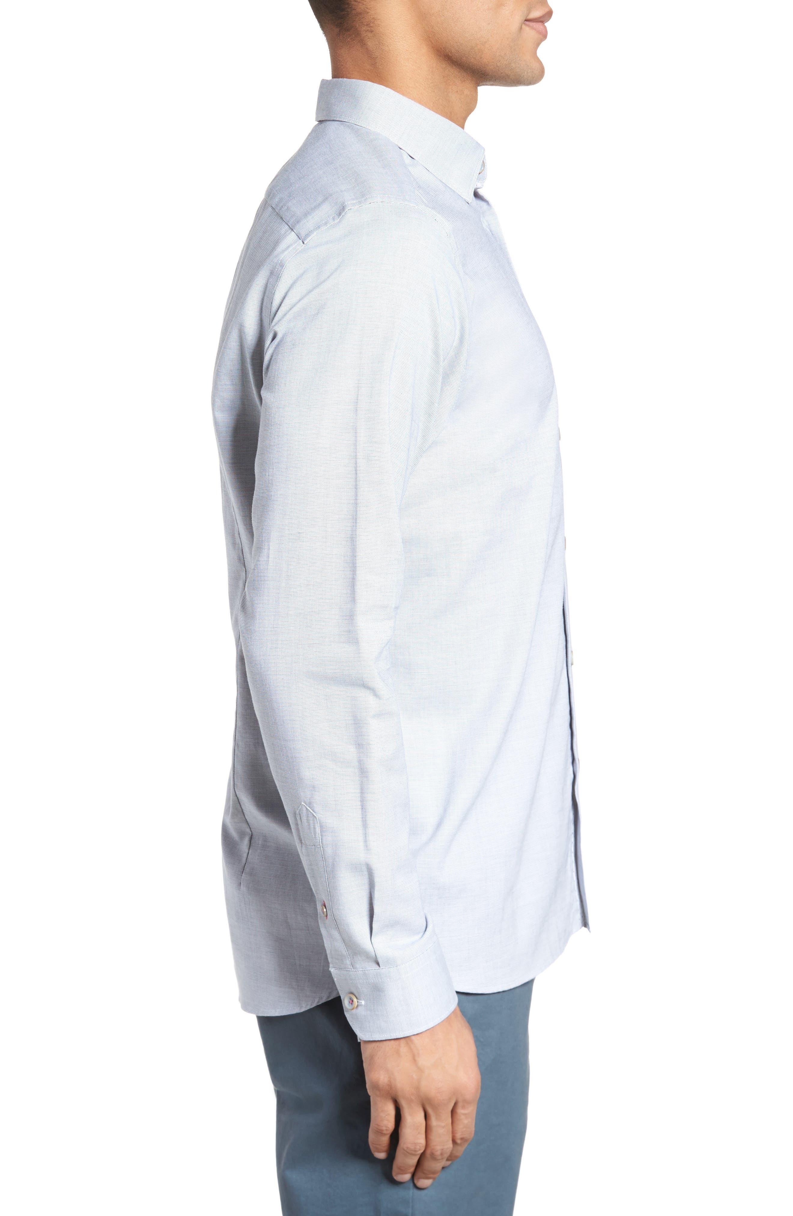 Slim Fit Textured Sport Shirt,                             Alternate thumbnail 4, color,                             Grey