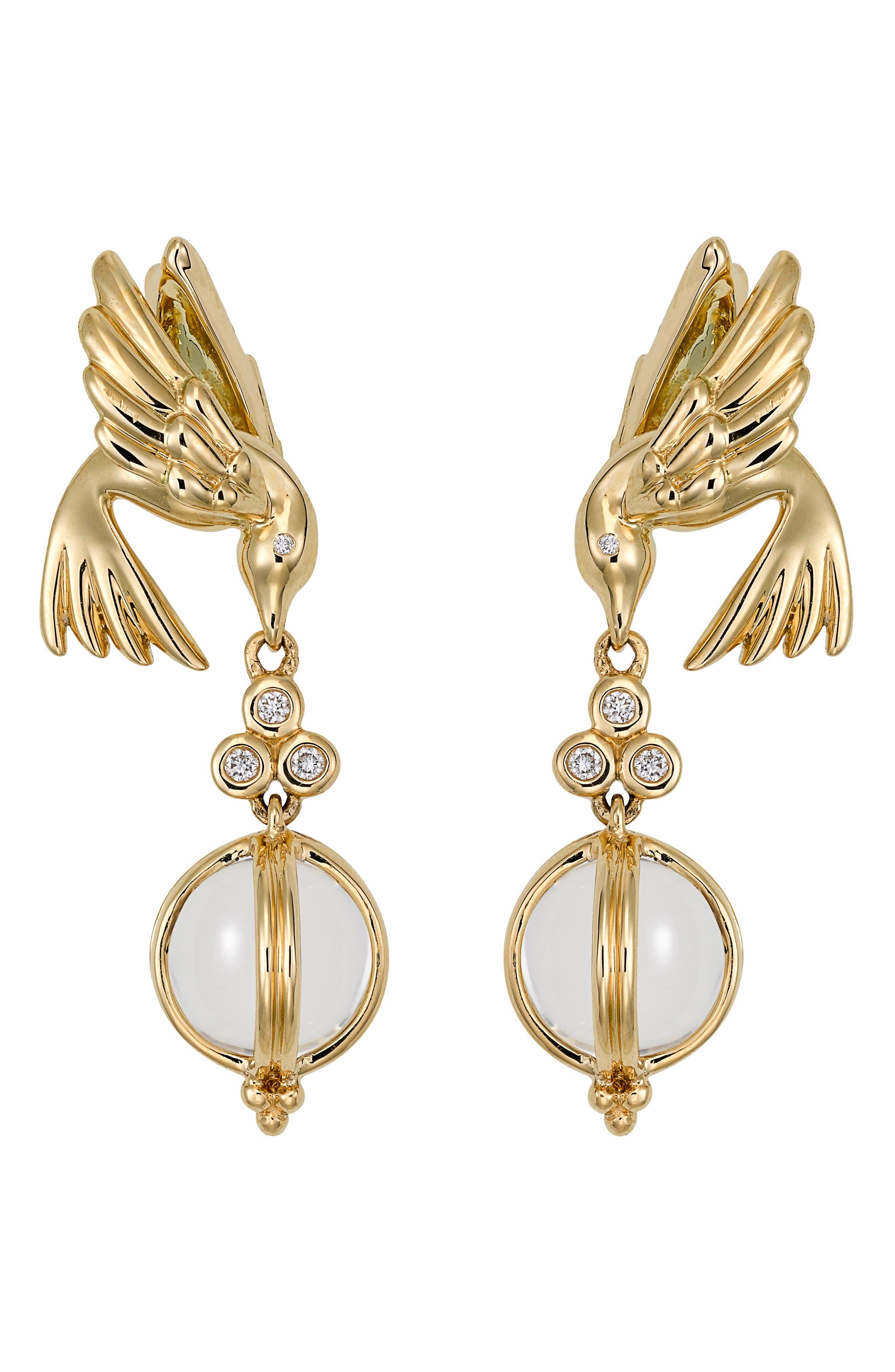 Crystal & Diamond Bird Drop Earrings,                         Main,                         color, Yellow Gold