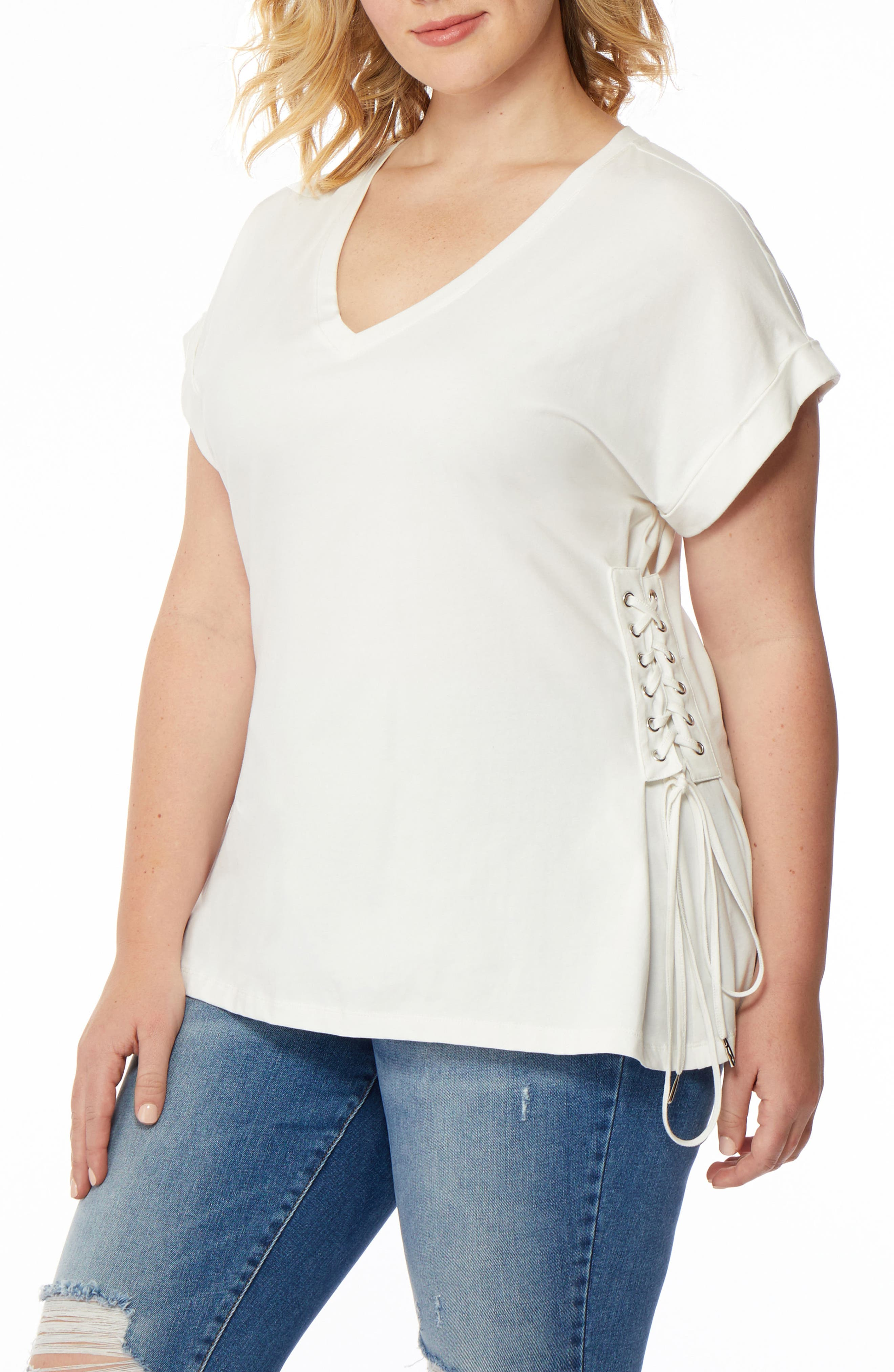 V-Neck Lace-Up Tee,                             Alternate thumbnail 2, color,                             White