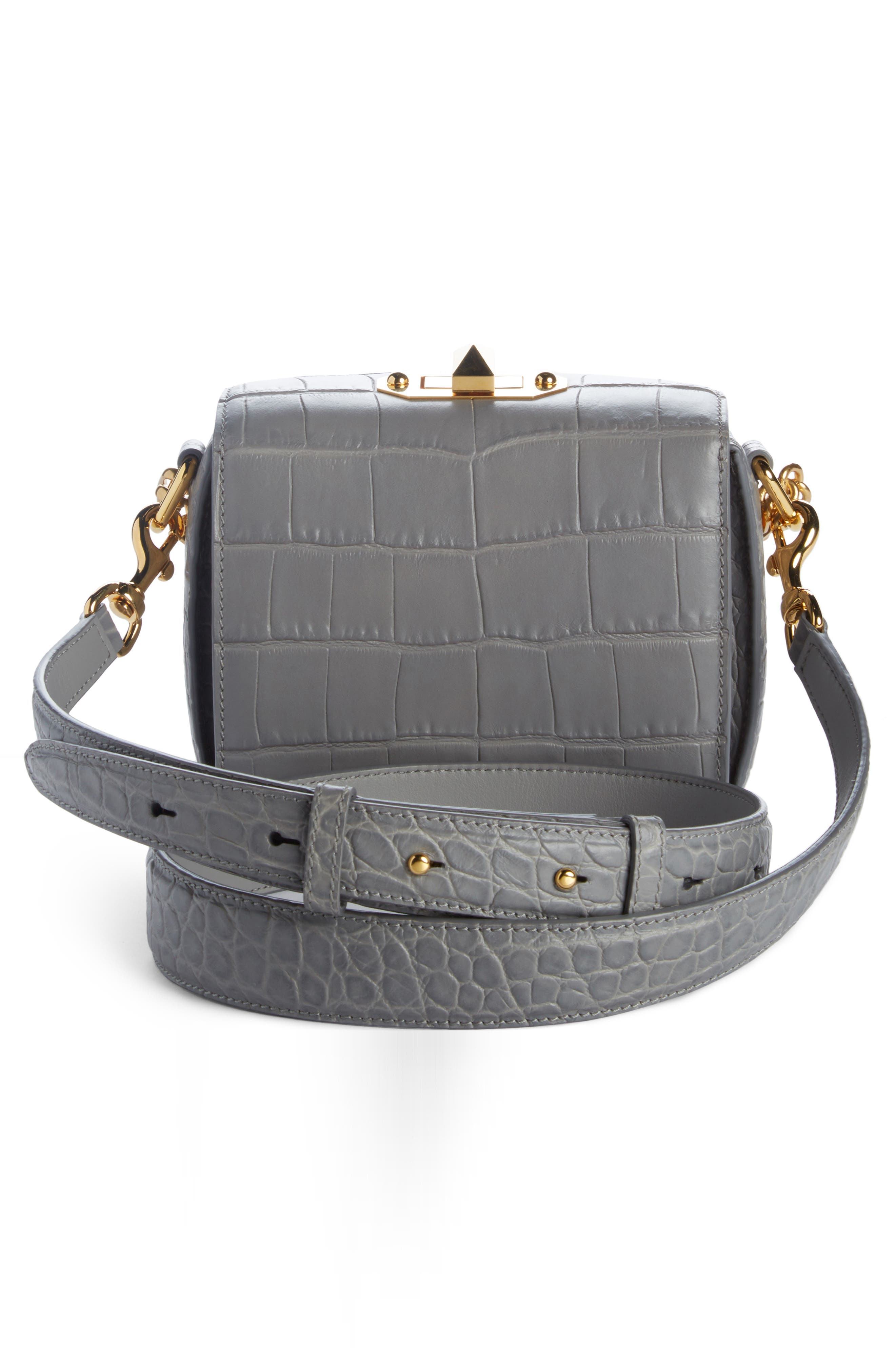 Alternate Image 3  - Alexander McQueen Mini Box Croc-Embossed Leather Bag