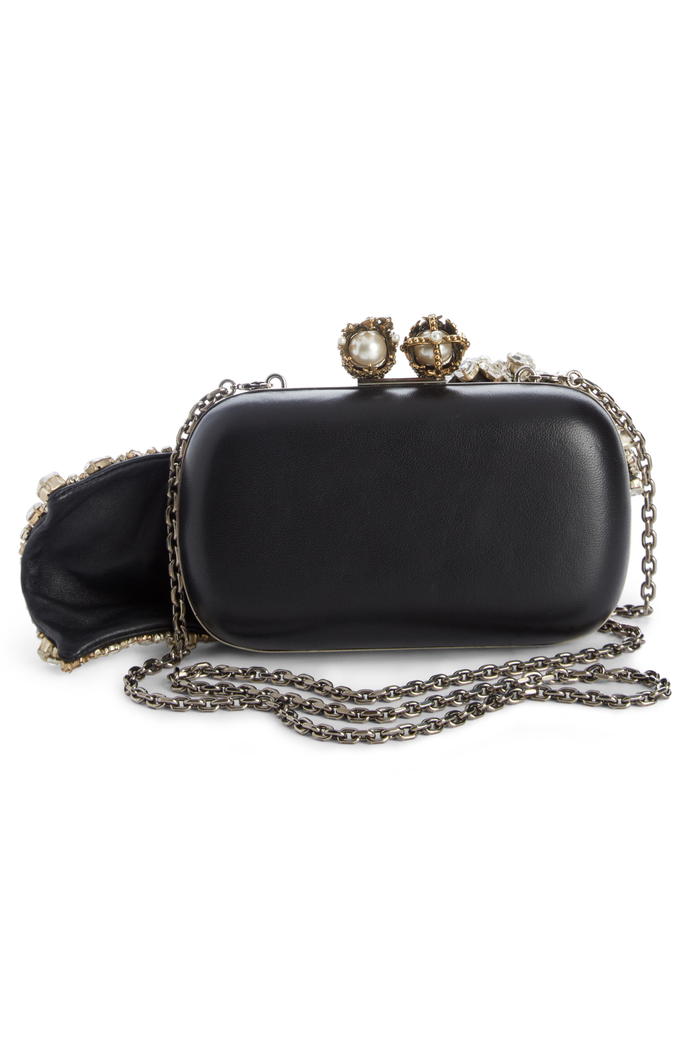Queen & King Crystal Bow Clutch,                             Alternate thumbnail 2, color,                             Black