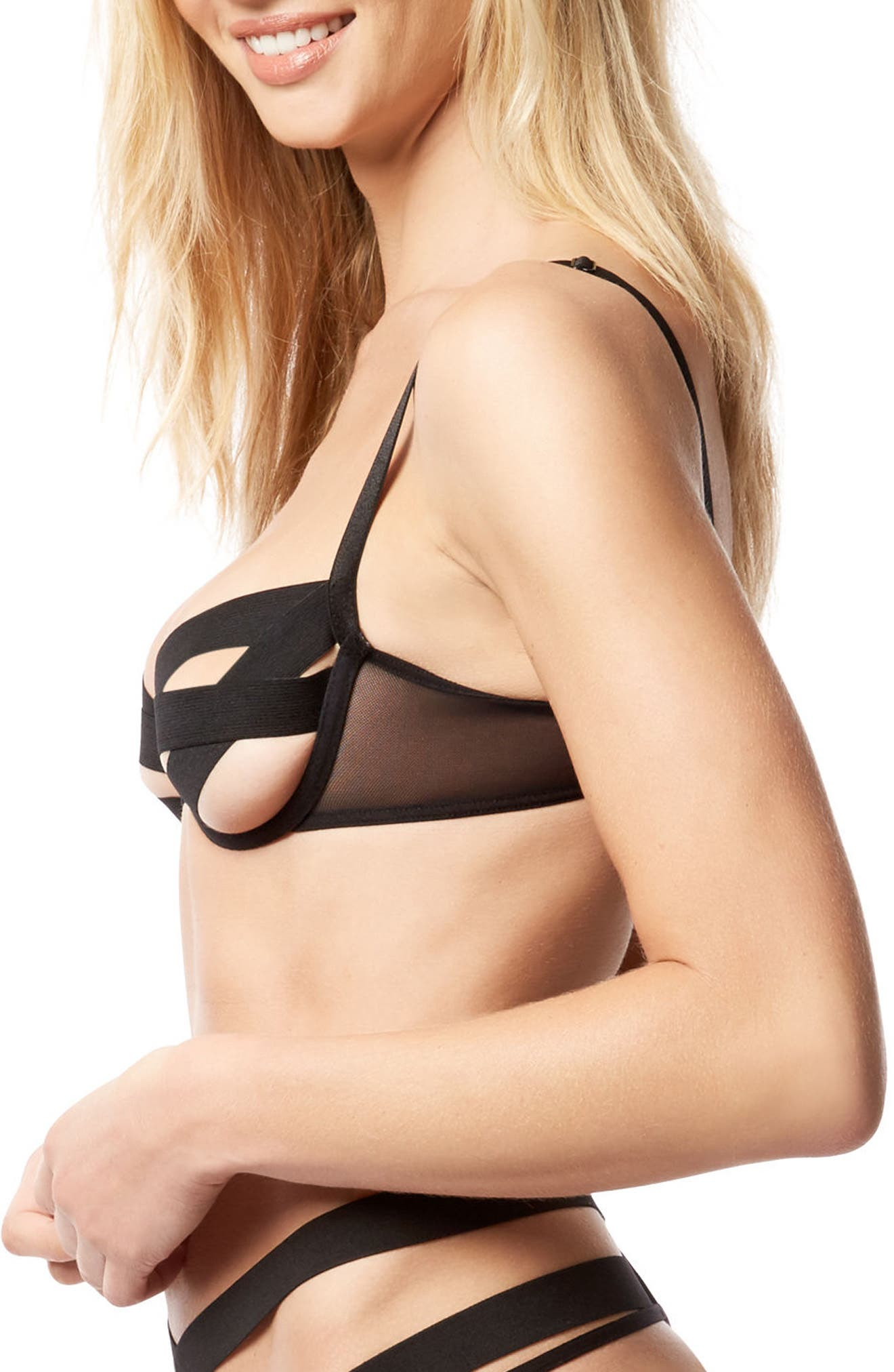 Emilia Underwire Bra,                             Alternate thumbnail 3, color,                             Black