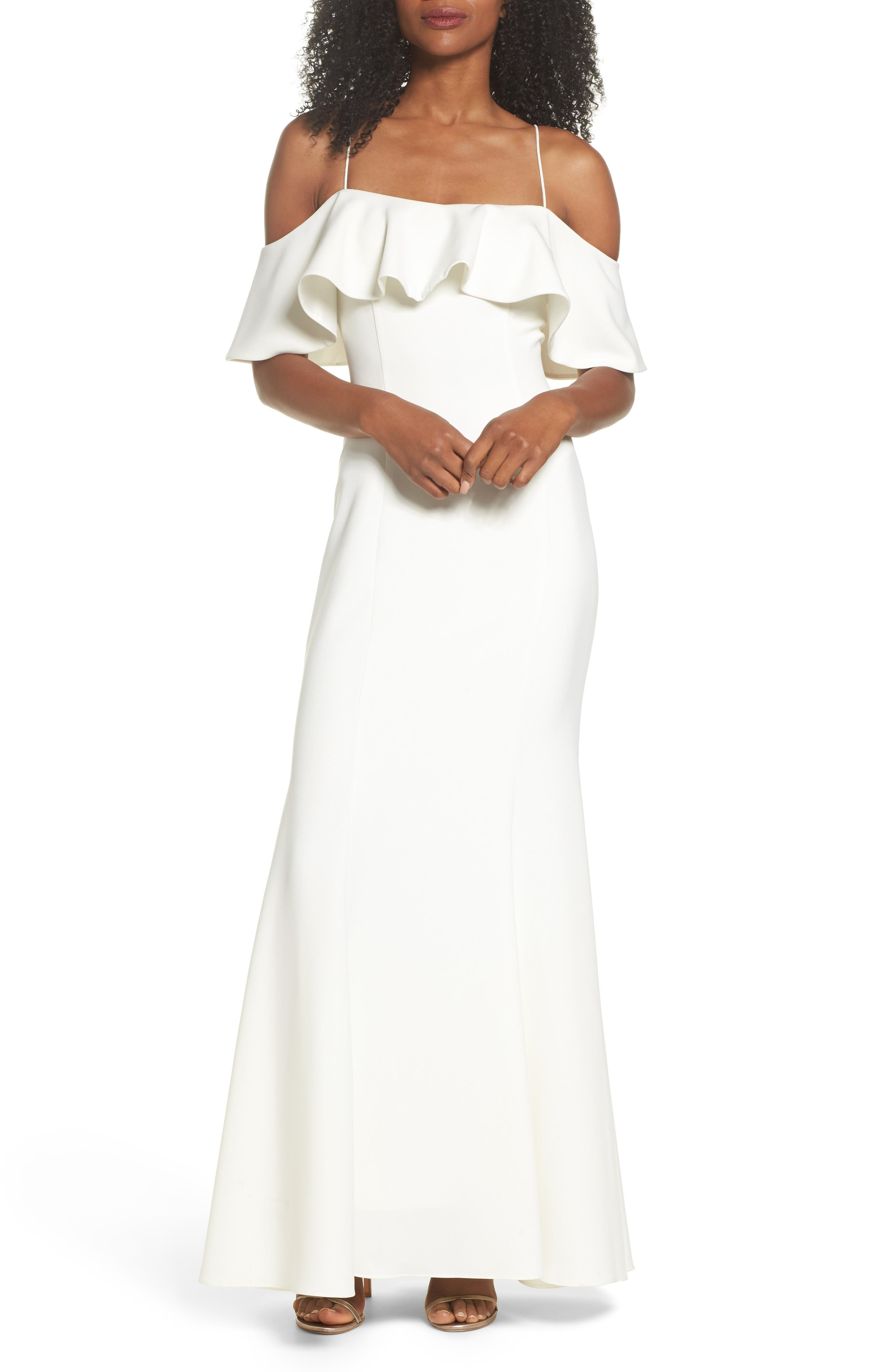 Ruffle Cold Shoulder Gown,                             Main thumbnail 1, color,                             Ivy