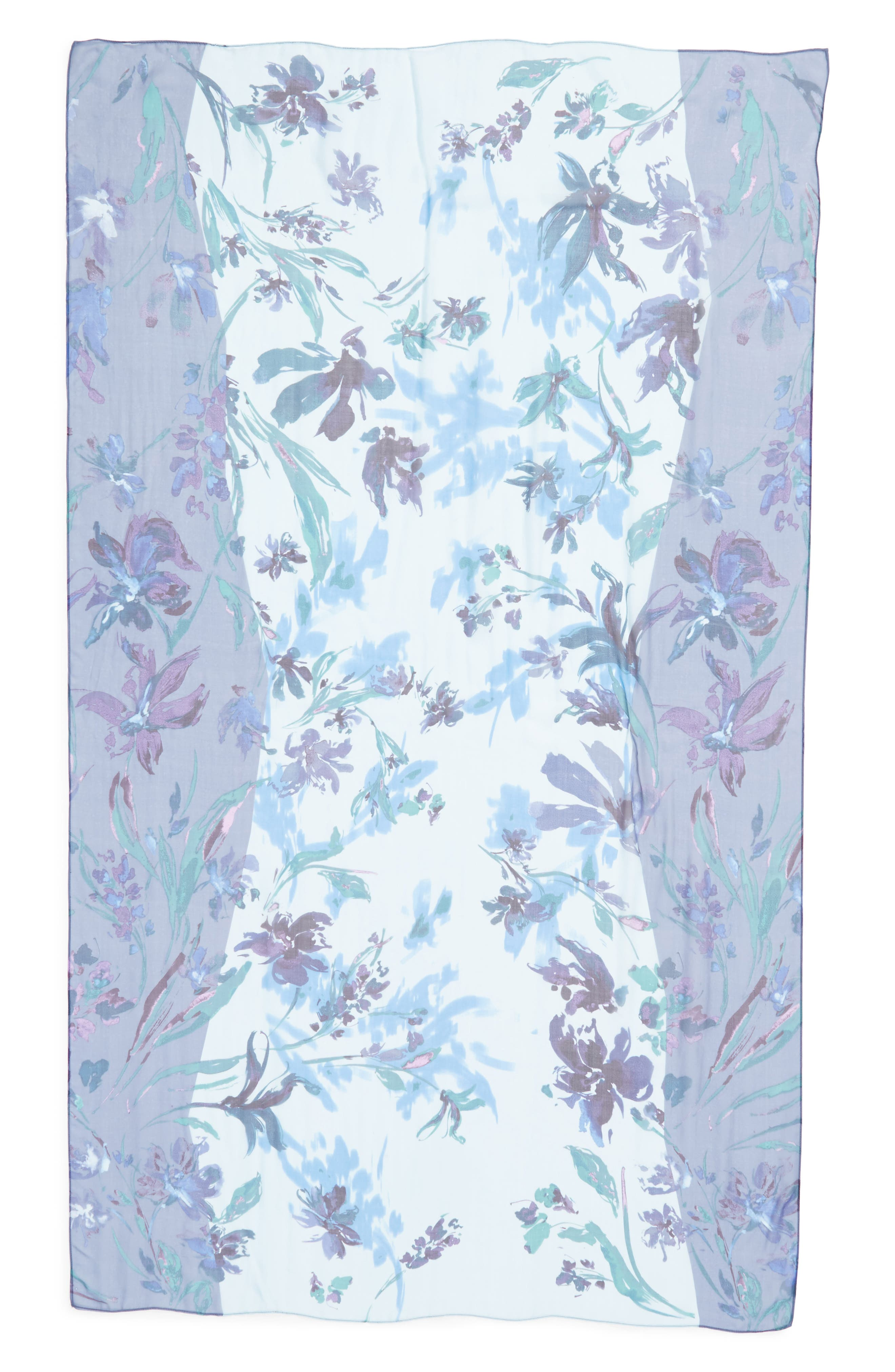 Silk Chiffon Oblong Scarf,                             Alternate thumbnail 3, color,                             Blue Mapped Floral Mix