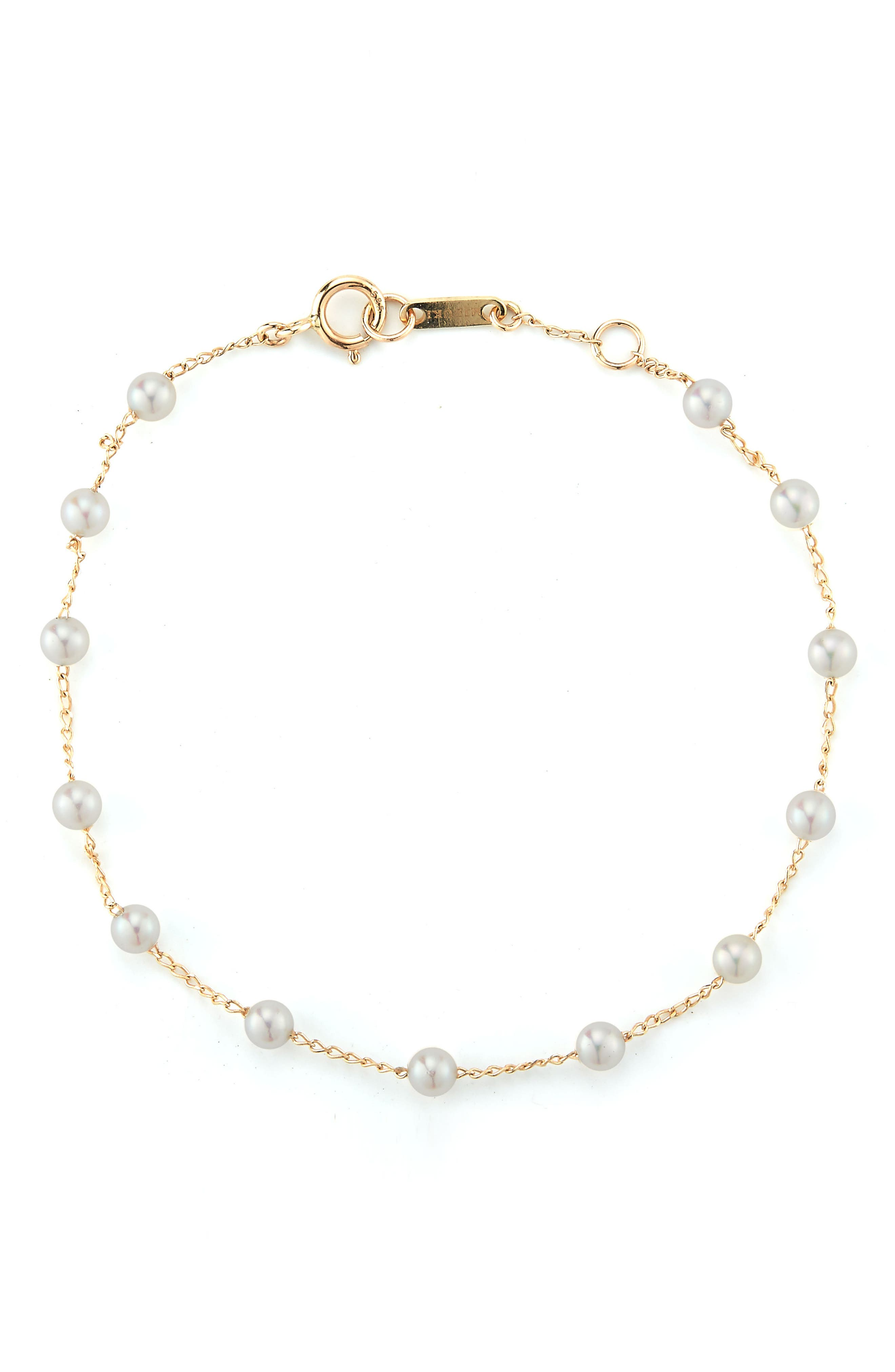 Genuine Pearl Station Bracelet,                         Main,                         color, Yellow Gold/ Pearl