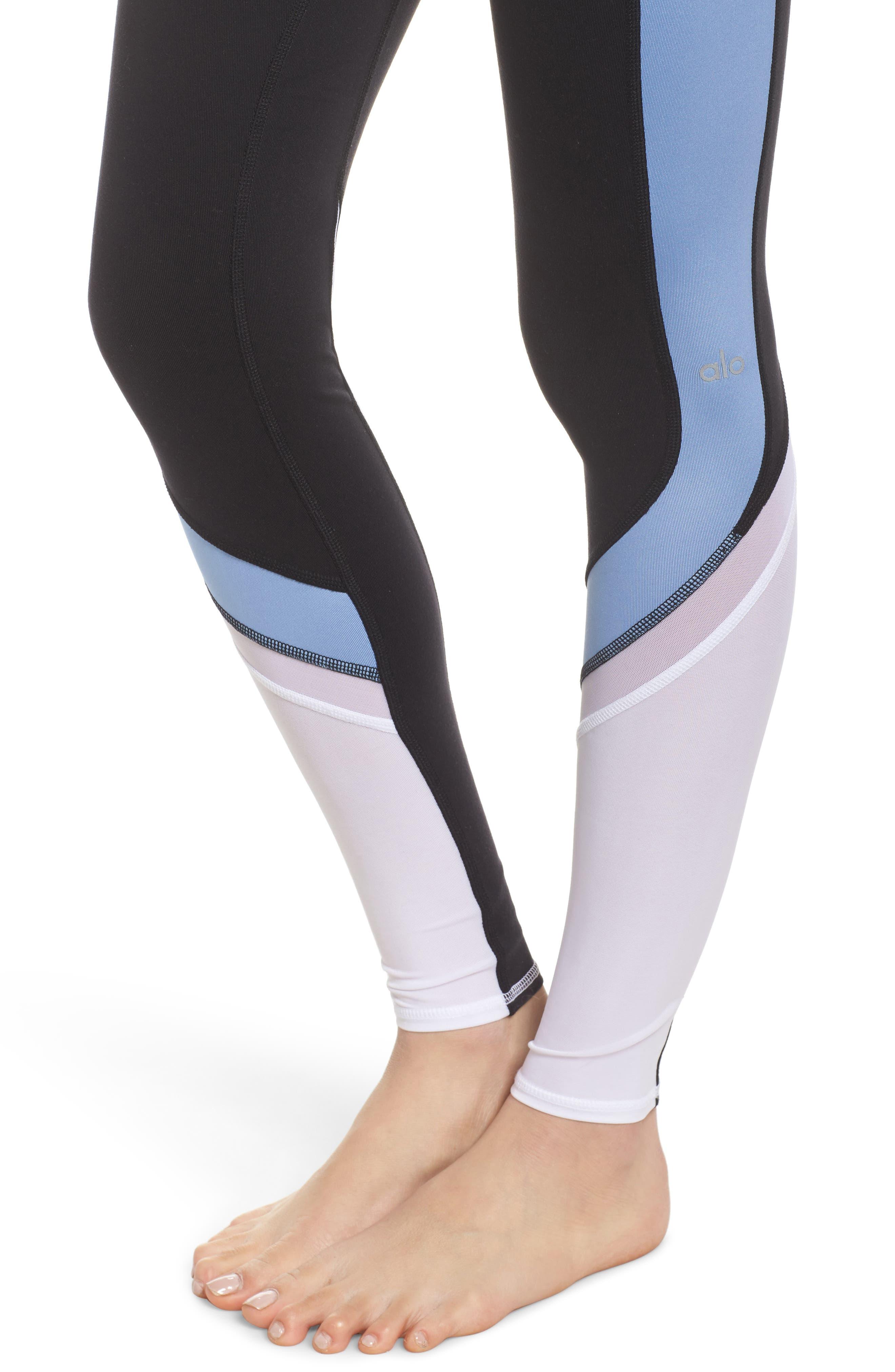 Elevate Leggings,                             Alternate thumbnail 4, color,                             Black/ Uv Blue Glossy/ White