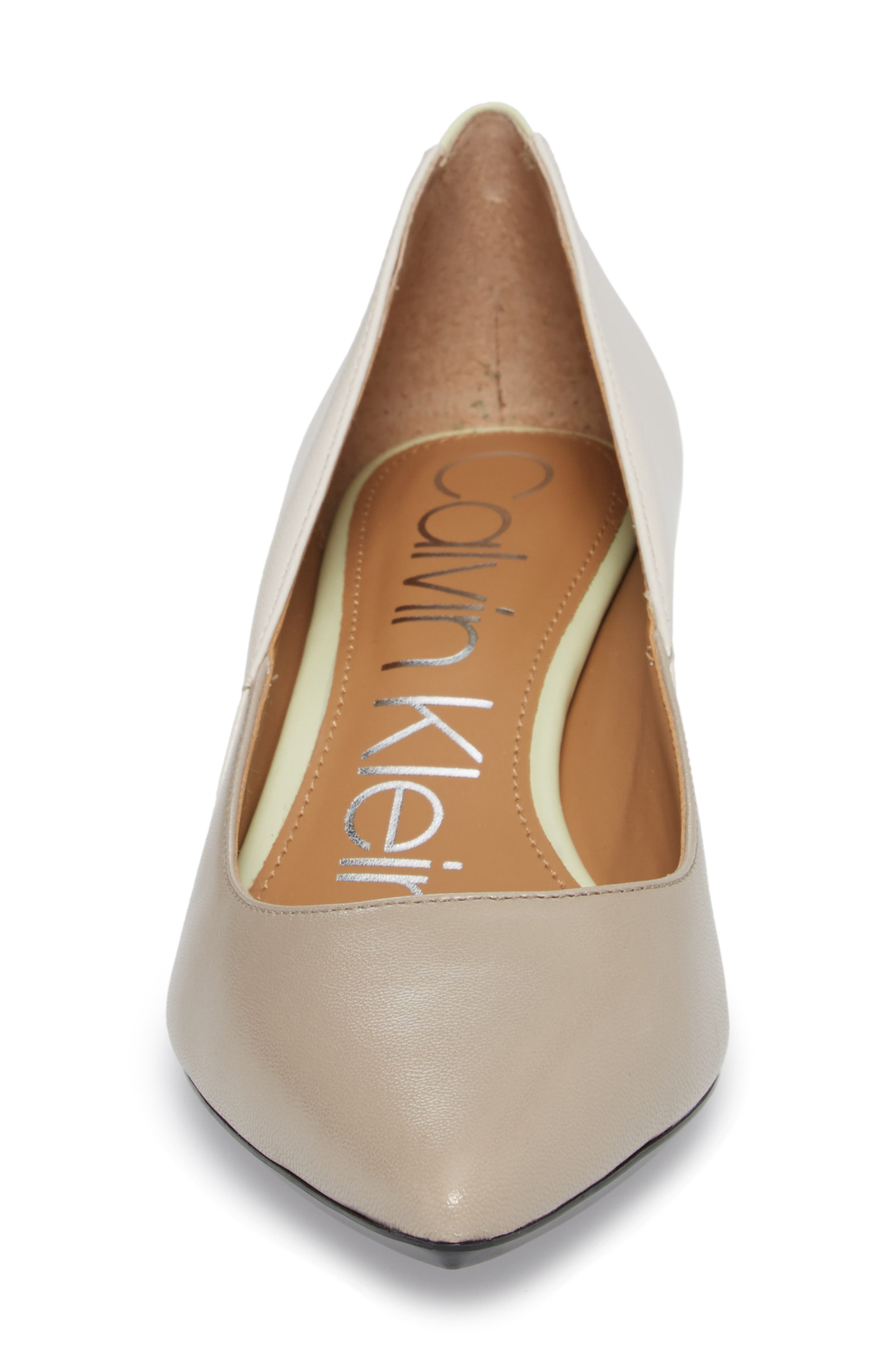 Grayce Pointy Toe Pump,                             Alternate thumbnail 4, color,                             Clay/ White Leather