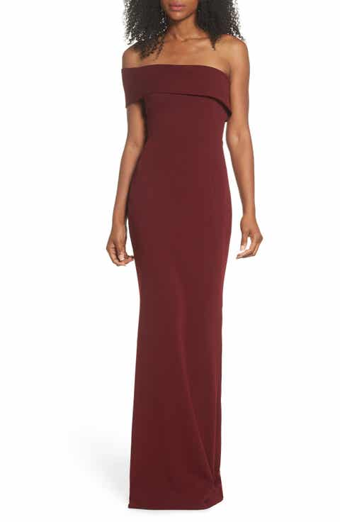 Katie May One-Shoulder Cutout Crepe Gown