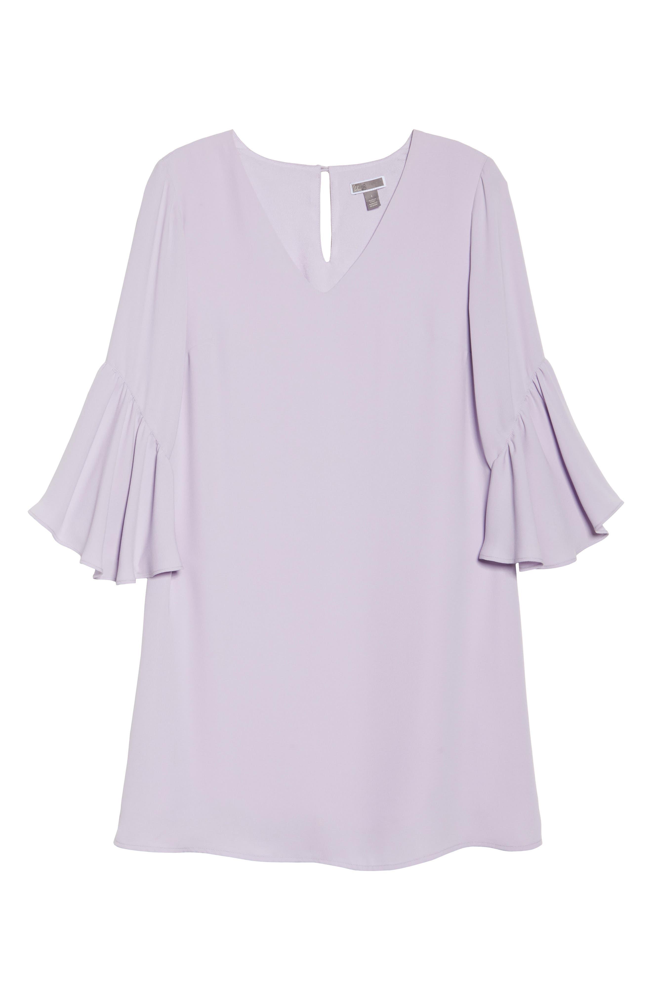 Bell Sleeve Shift Dress,                             Alternate thumbnail 6, color,                             Purple Petal