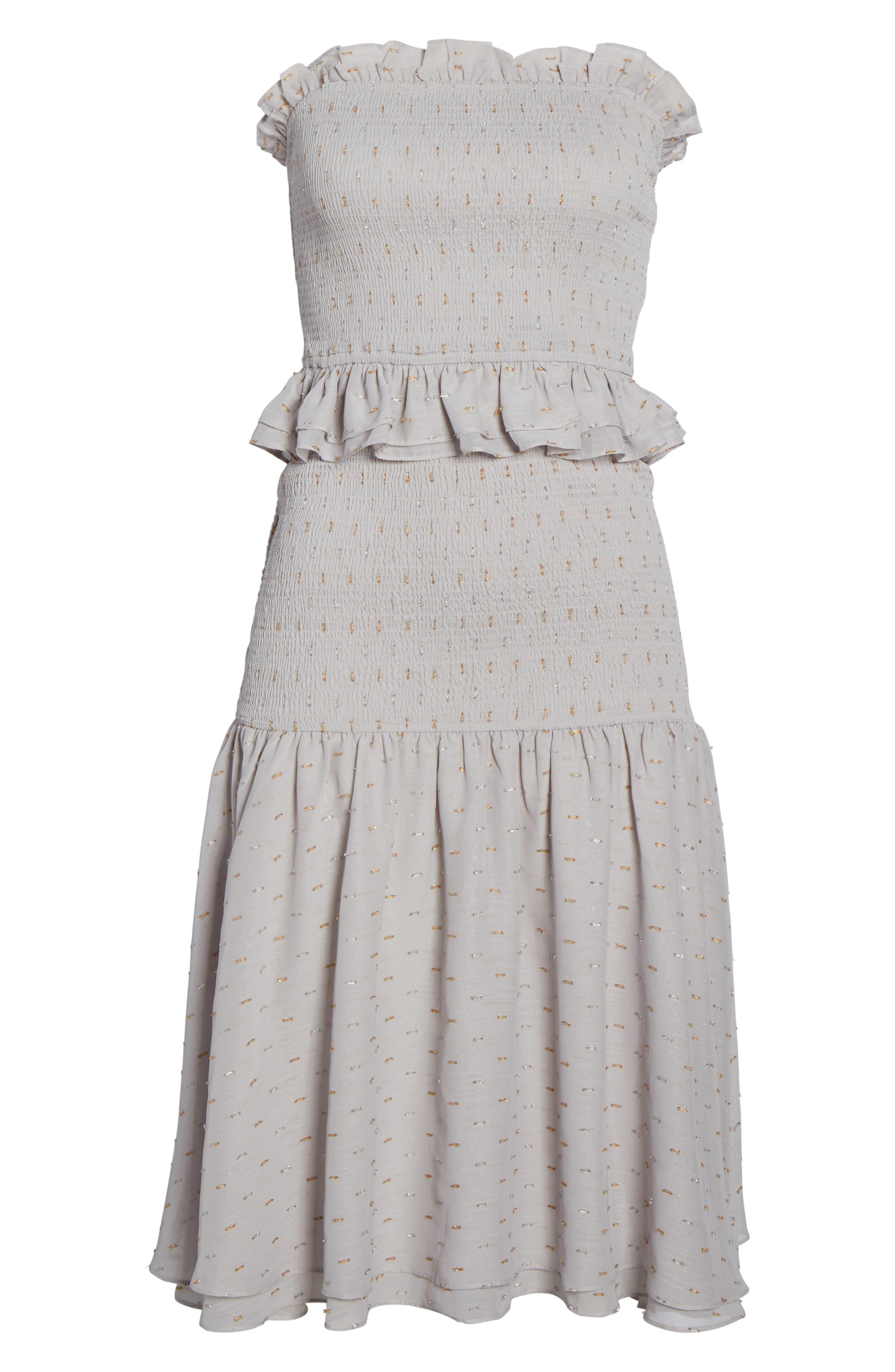 Grey Violet Smocked Midi Dress,                             Alternate thumbnail 6, color,                             Grey