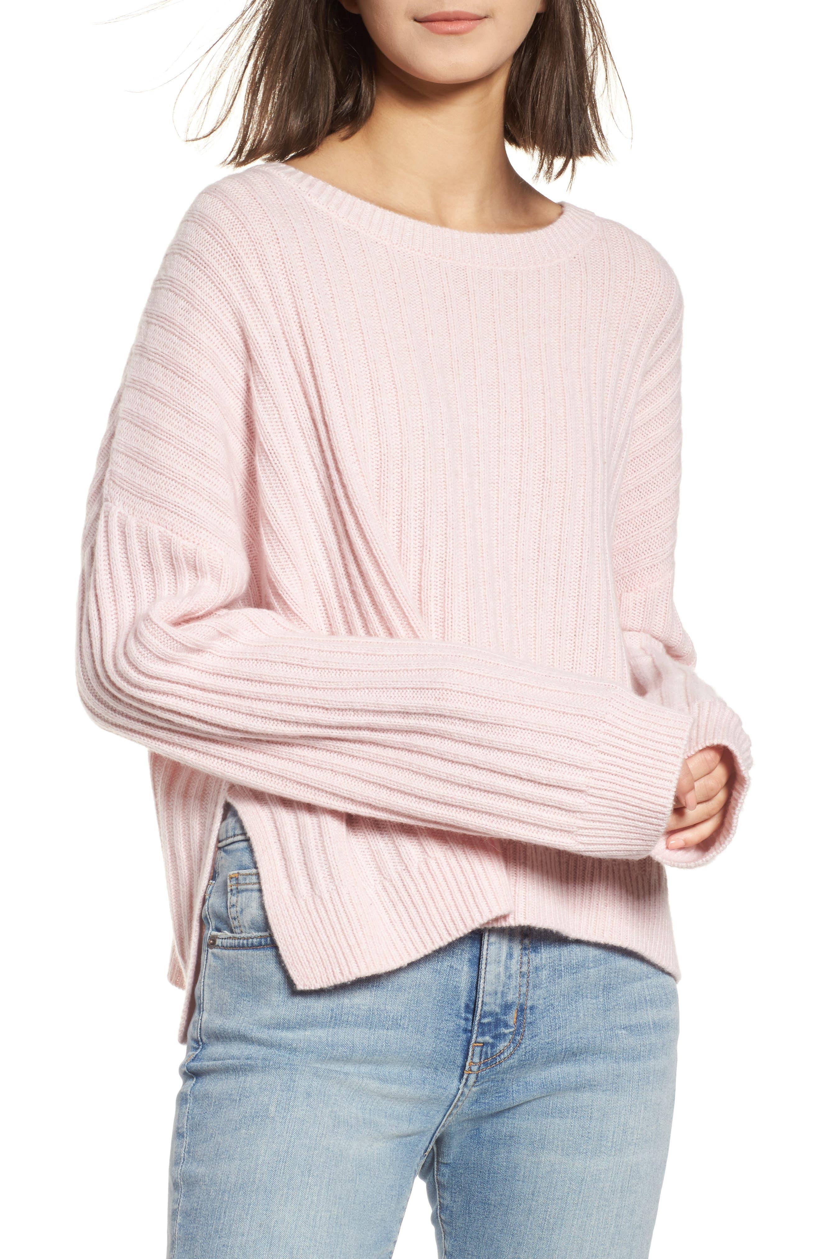 Joelle Rib Wool & Cashmere Sweater,                             Main thumbnail 1, color,                             Petal Melange