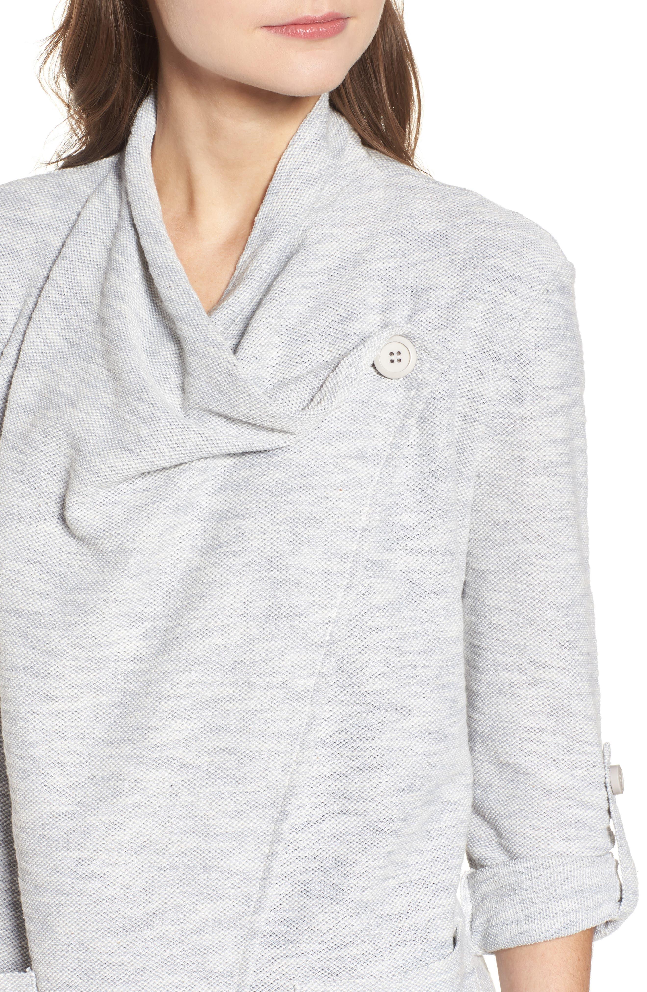 Kris Drape Front Knit Jacket,                             Alternate thumbnail 4, color,                             Oatmeal