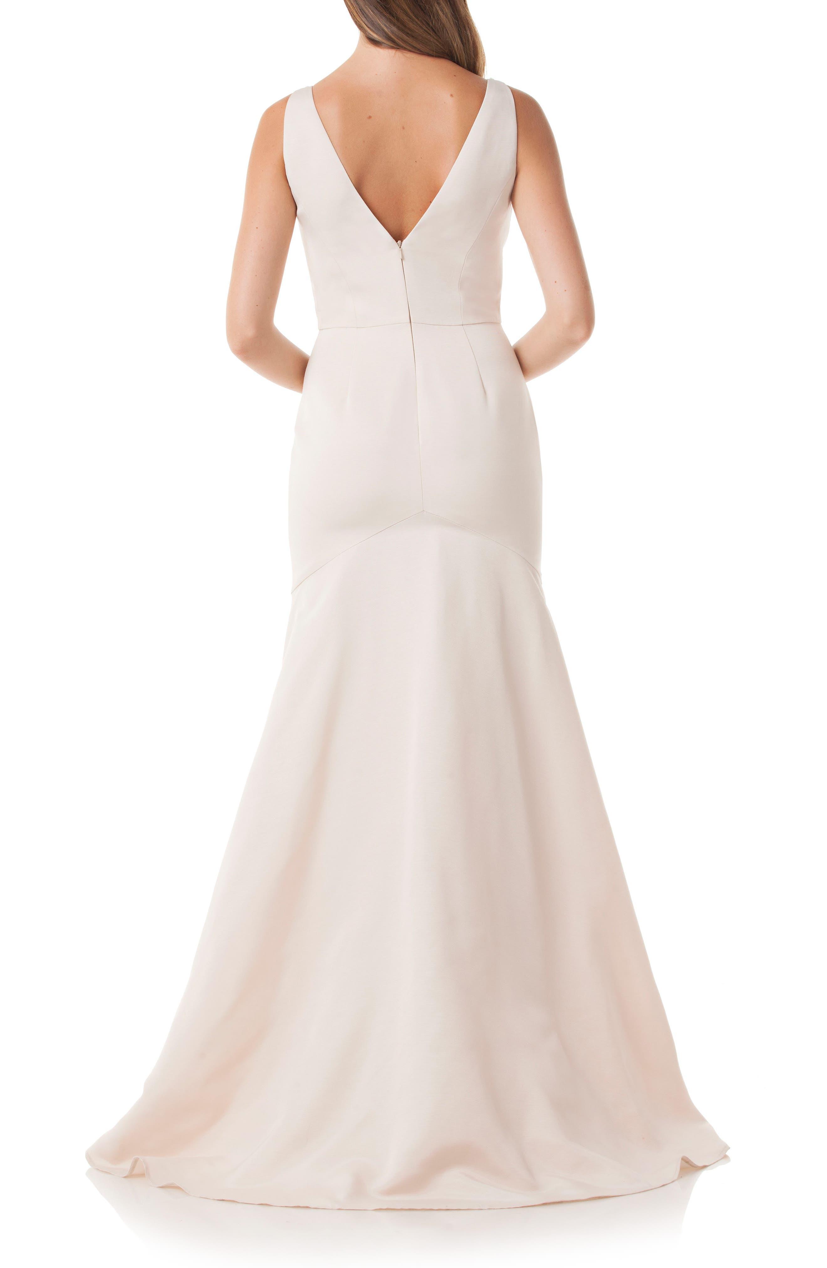 Lace Appliqué Mermaid Gown,                             Alternate thumbnail 2, color,                             Champ/ White