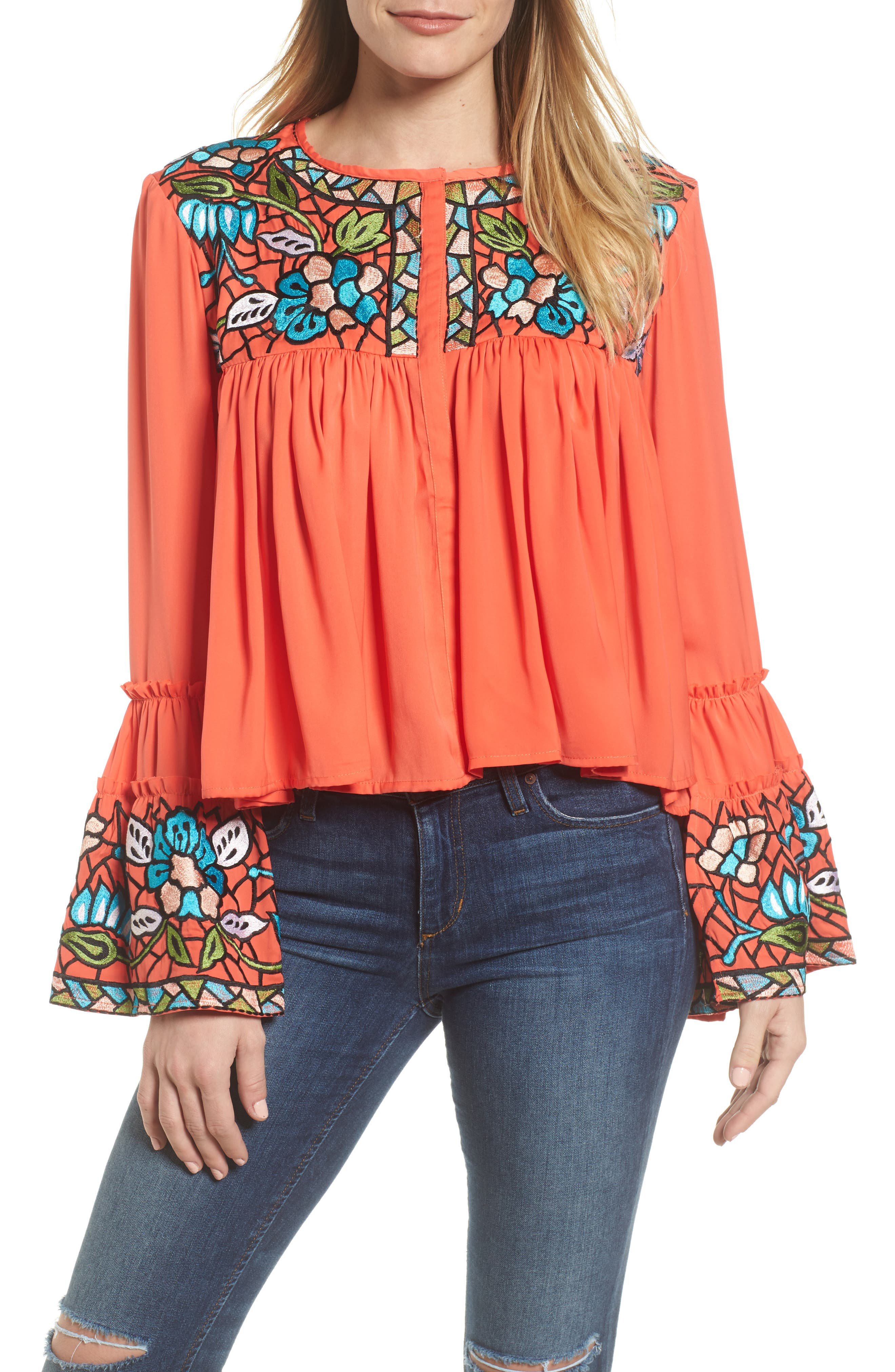 Malo Embroidered Button Blouse,                         Main,                         color, Coral