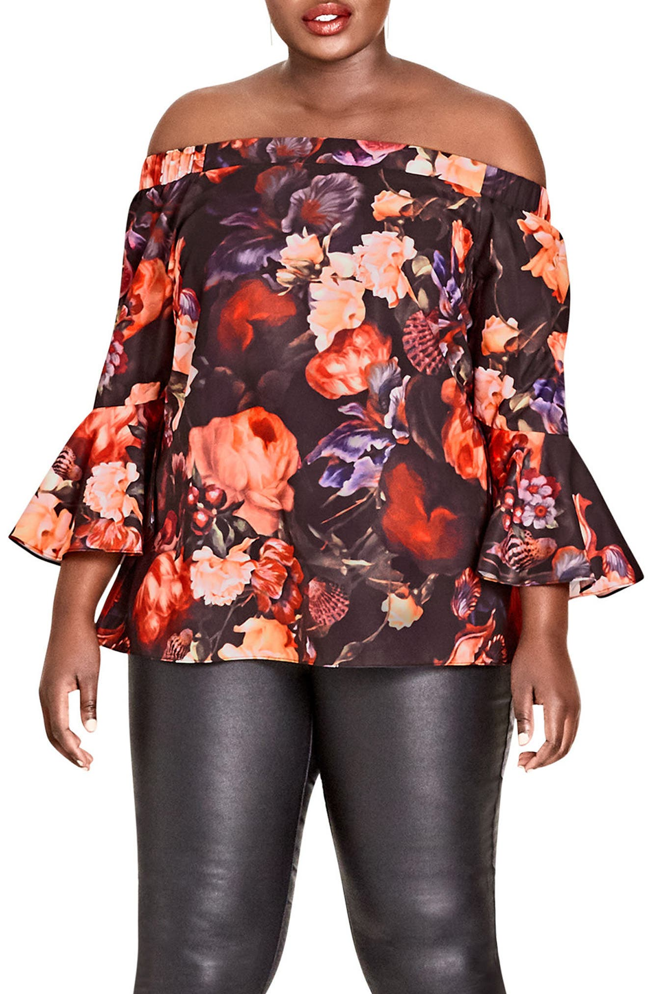Alternate Image 1 Selected - City Chic Opulence Off the Shoulder Bell Sleeve Top (Plus Size)