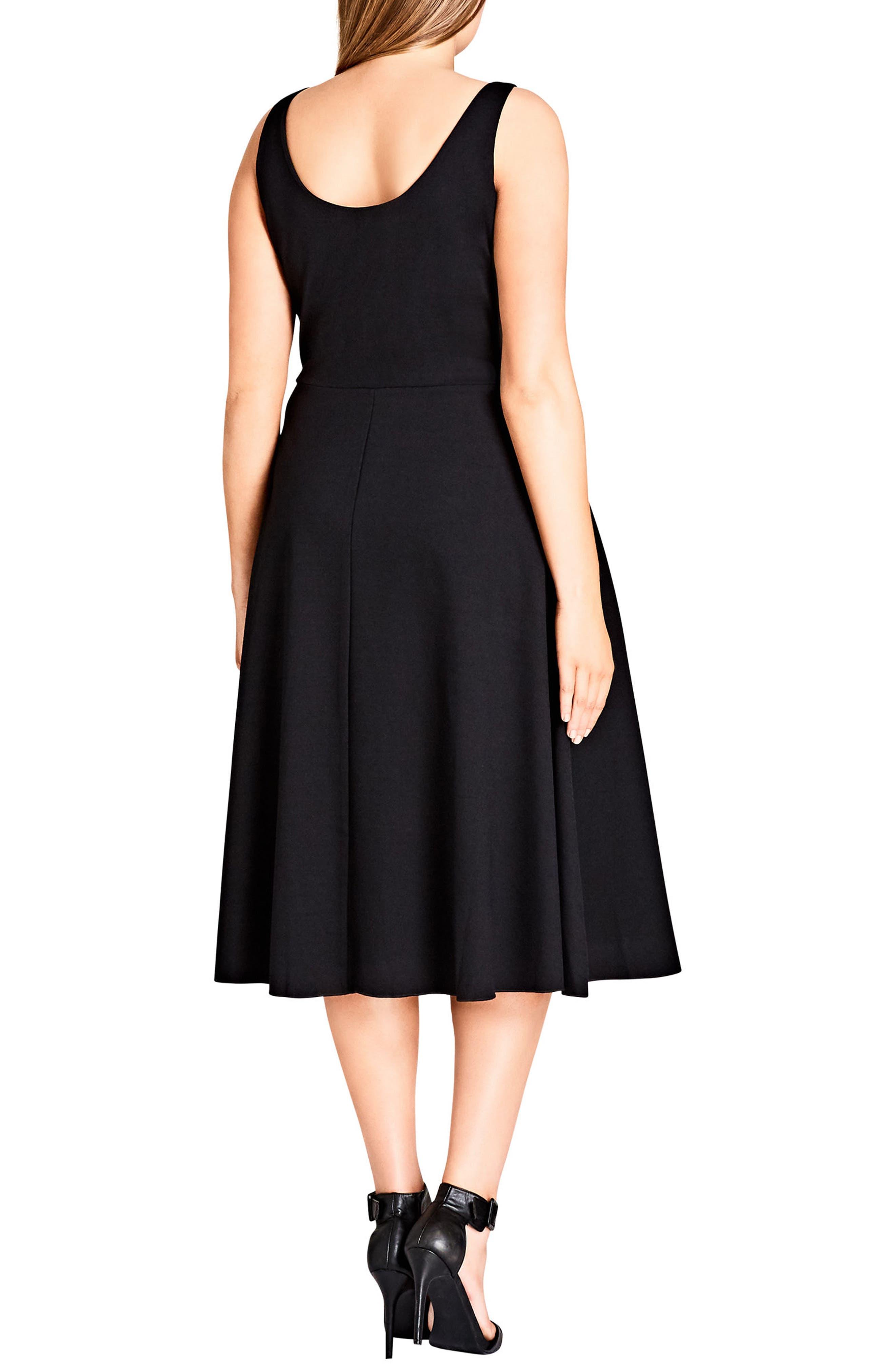 Cute Girl Fit & Flare Midi Dress,                             Alternate thumbnail 2, color,                             Black