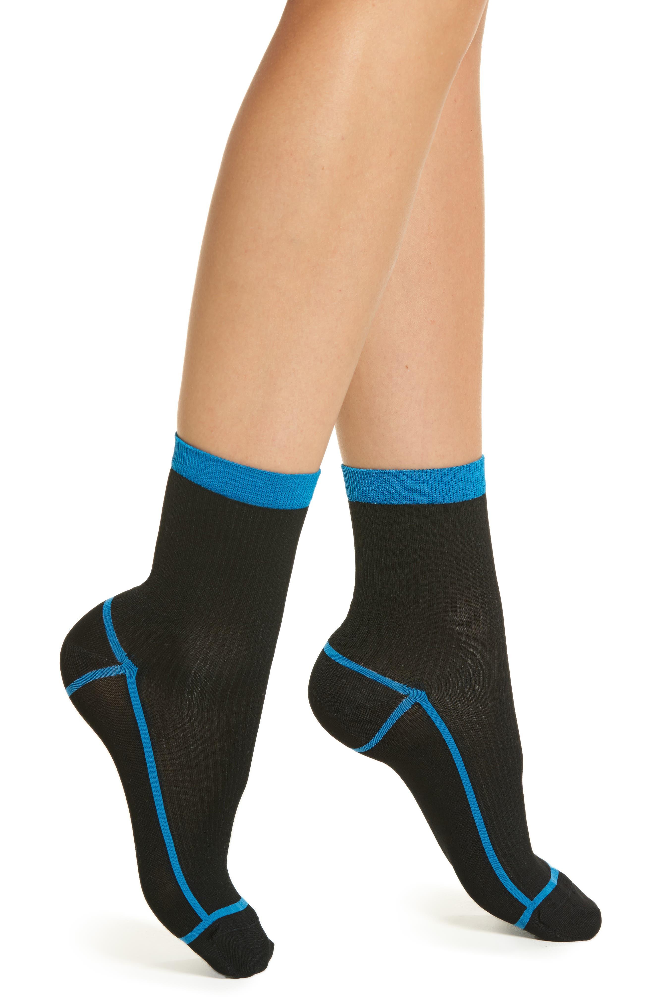 Lily Rib Ankle Socks,                             Main thumbnail 1, color,                             Black