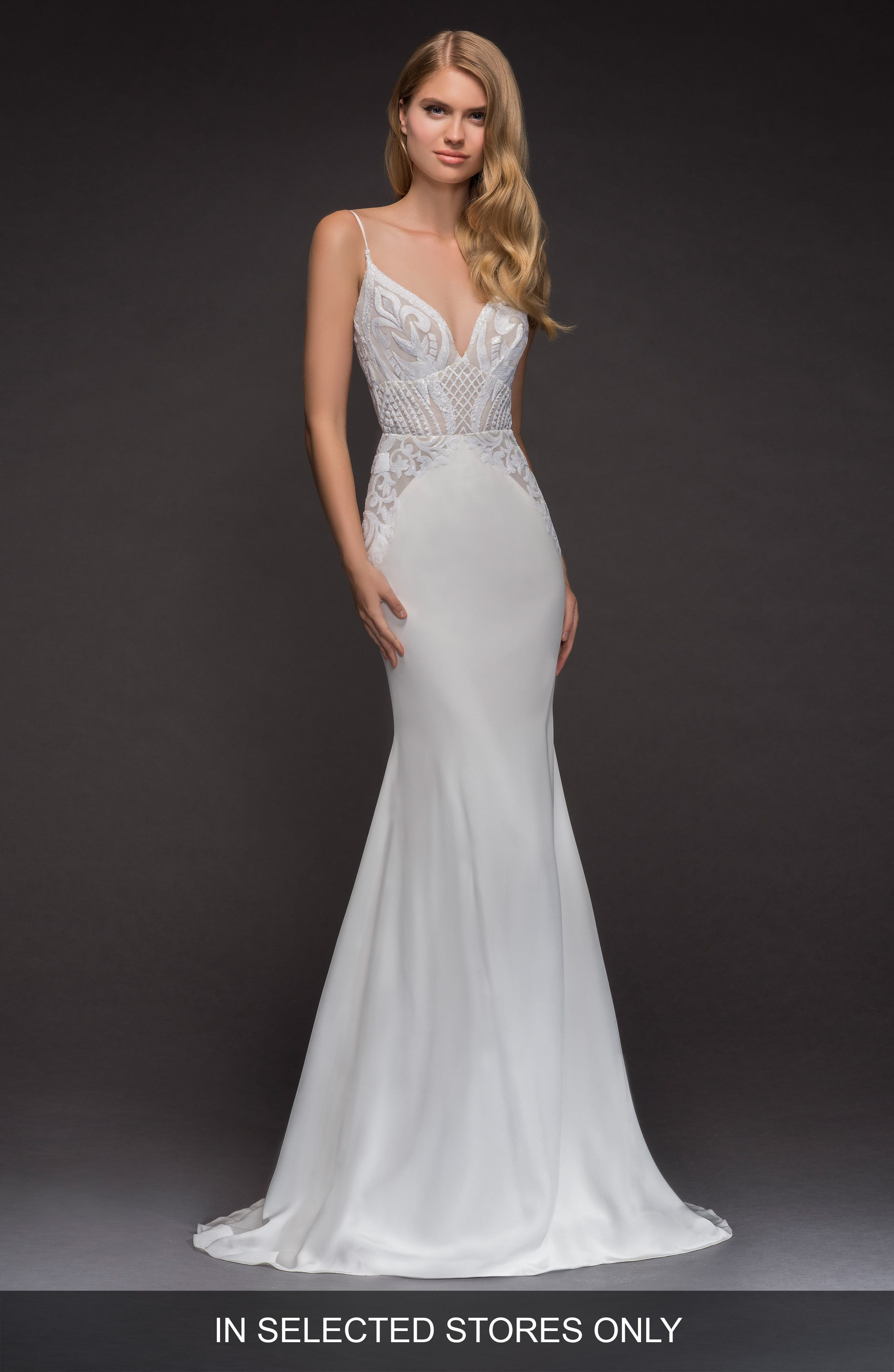 Xenia Beaded Crepe Mermaid Gown,                             Main thumbnail 1, color,                             Ivory