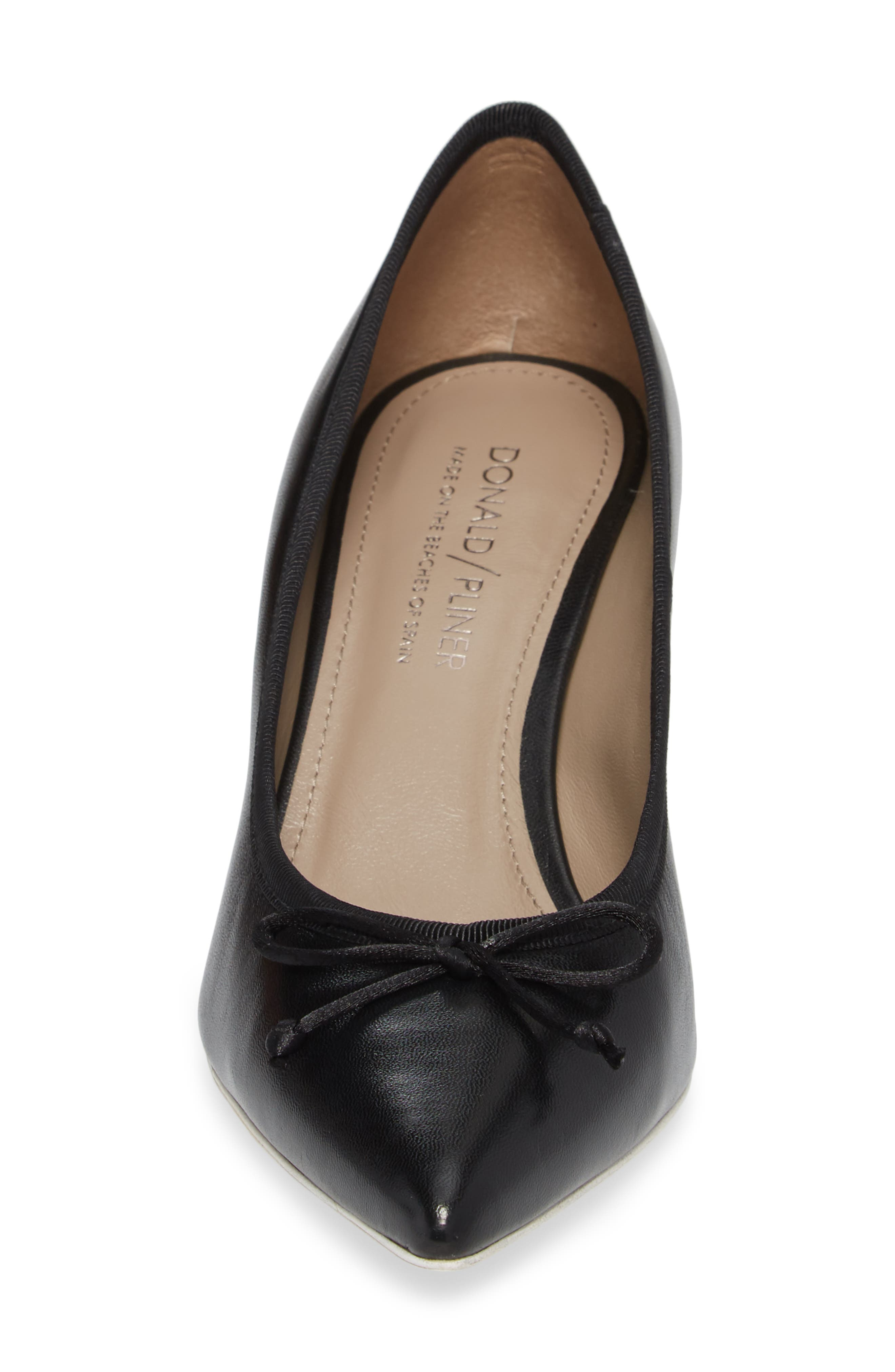 Asia Pointy Toe Pump,                             Alternate thumbnail 4, color,                             Black Leather