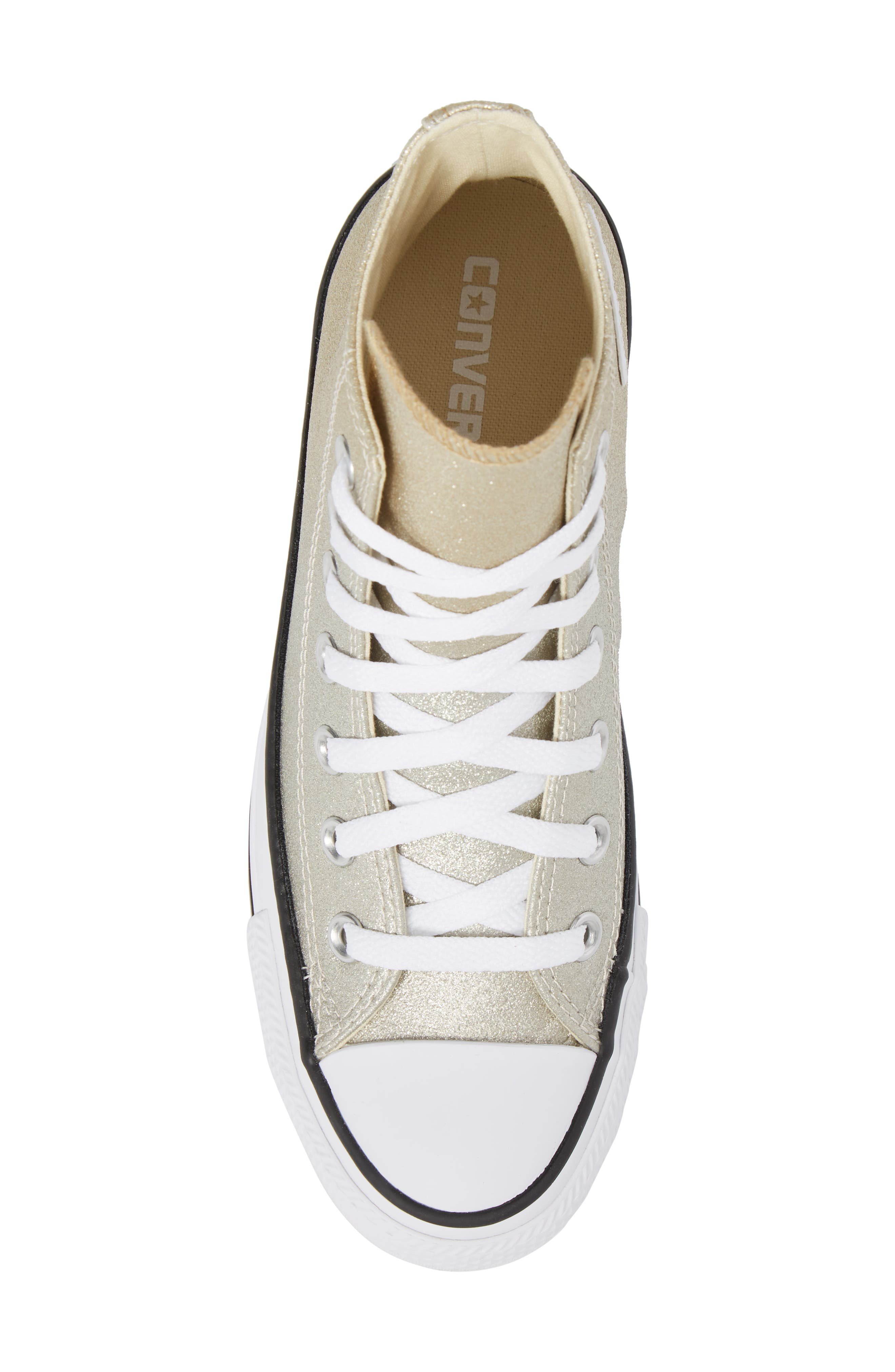 Chuck Taylor<sup>®</sup> All Star<sup>®</sup> Ombré Metallic High Top Sneaker,                             Alternate thumbnail 5, color,                             Light Gold