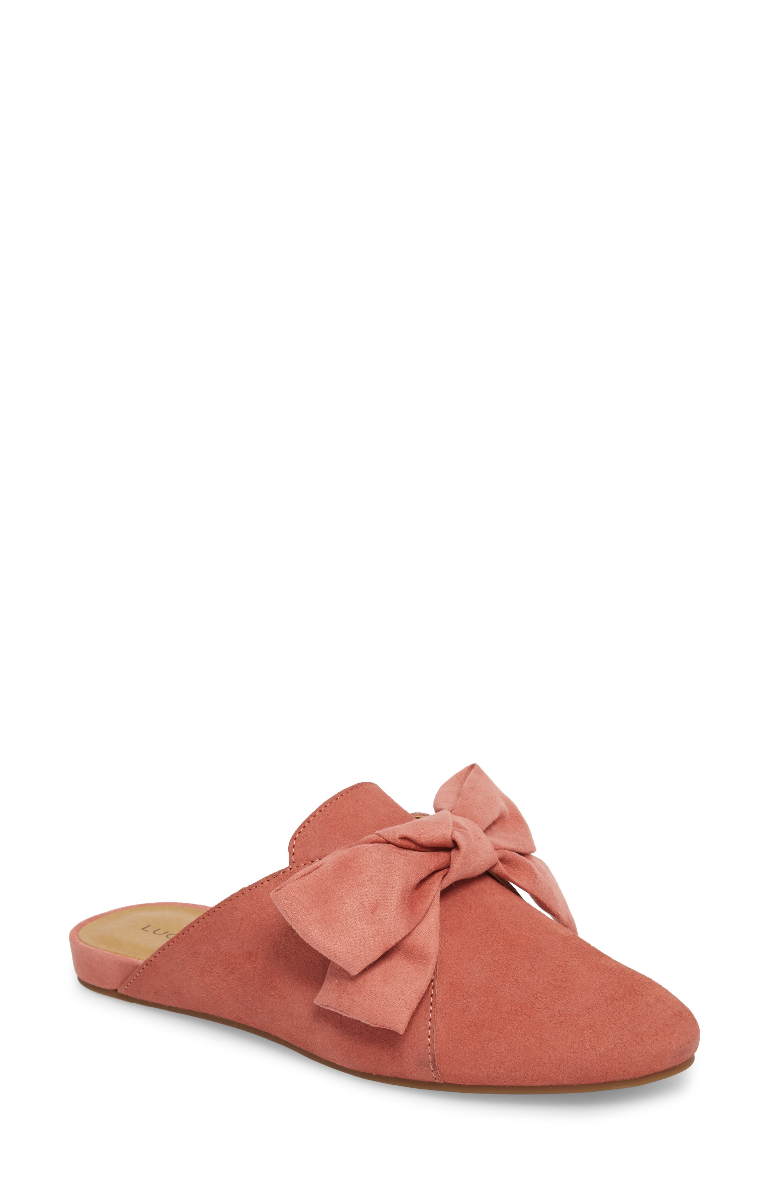 Florean Bow Loafer Mule,                             Main thumbnail 1, color,                             Canyon Rose Leather