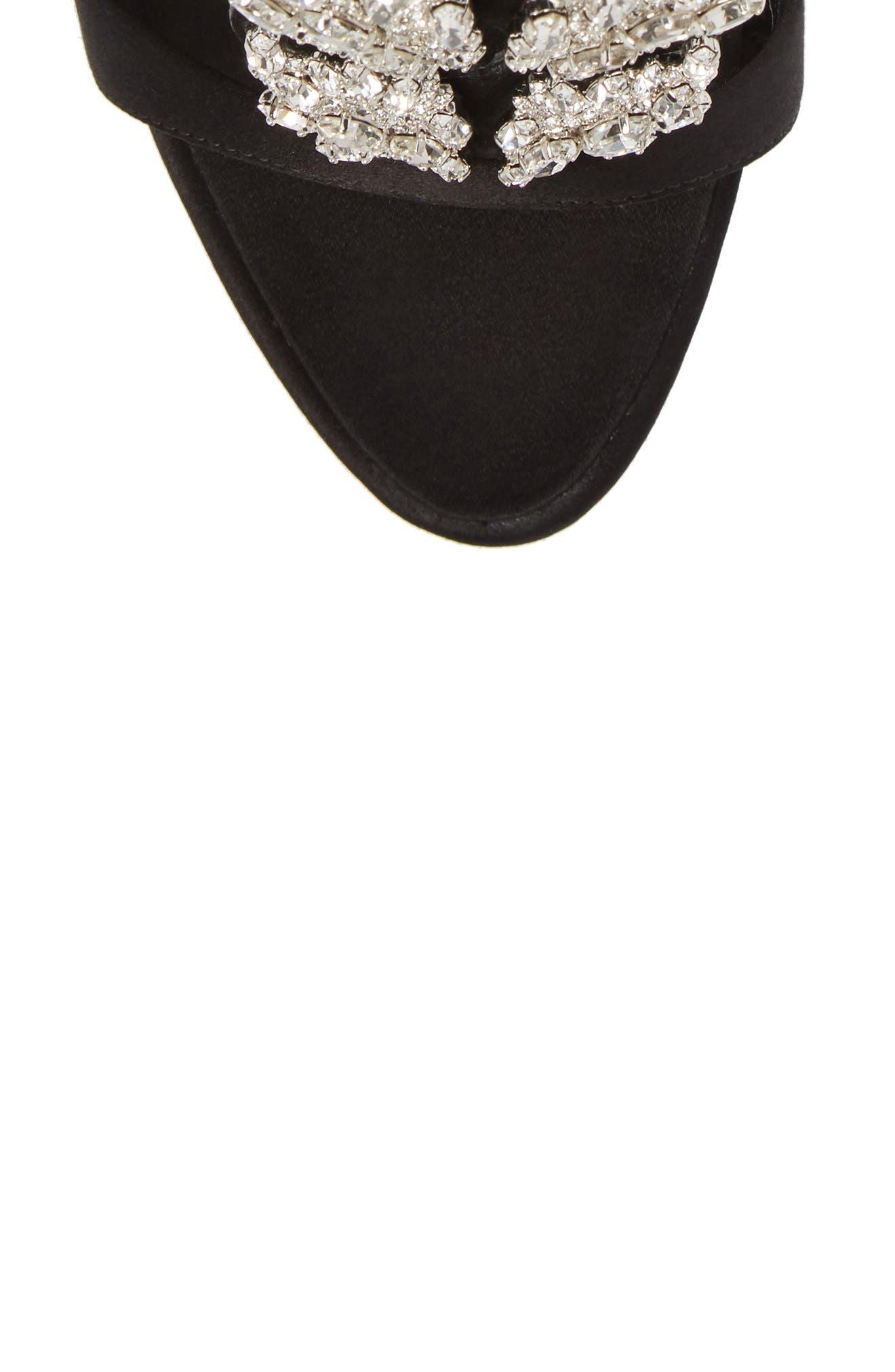 Cruel Wing Crystal Embellished Sandal,                             Alternate thumbnail 5, color,                             Black/ Crystal