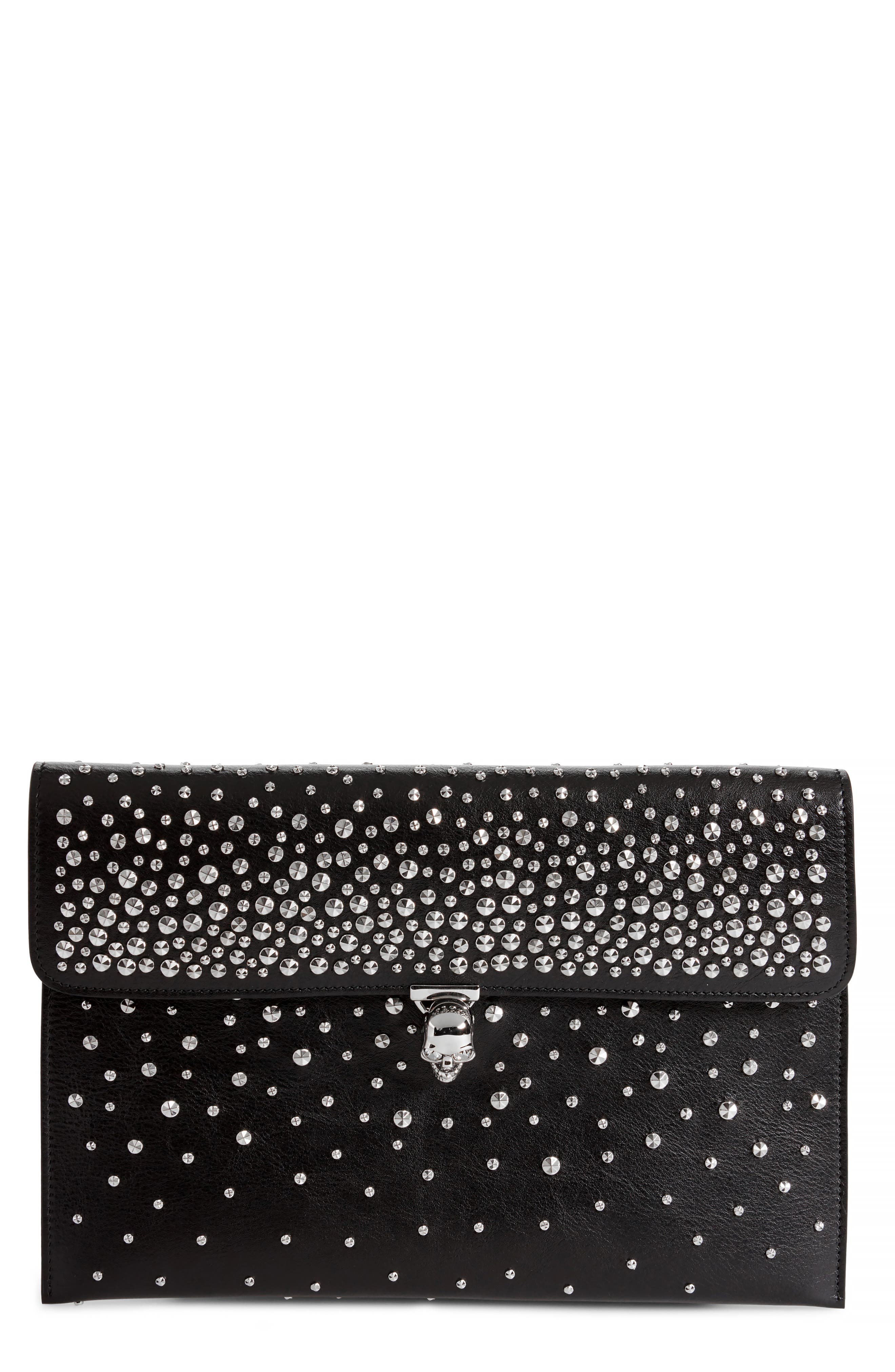 Studded Skull Closure Leather Envelope Clutch,                             Main thumbnail 1, color,                             Black