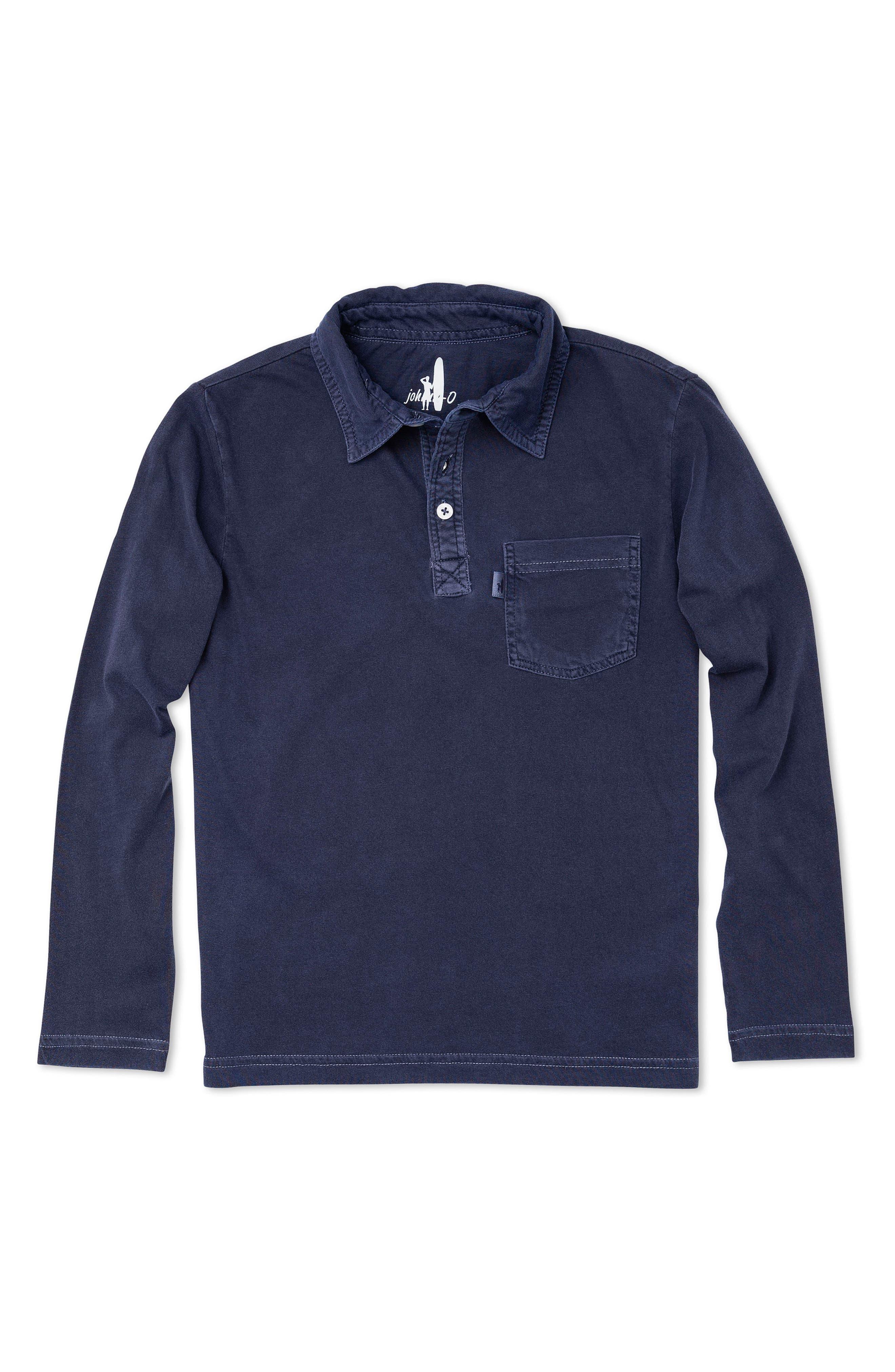 Carbon Long Sleeve Pocket Polo,                             Main thumbnail 1, color,                             Abyss