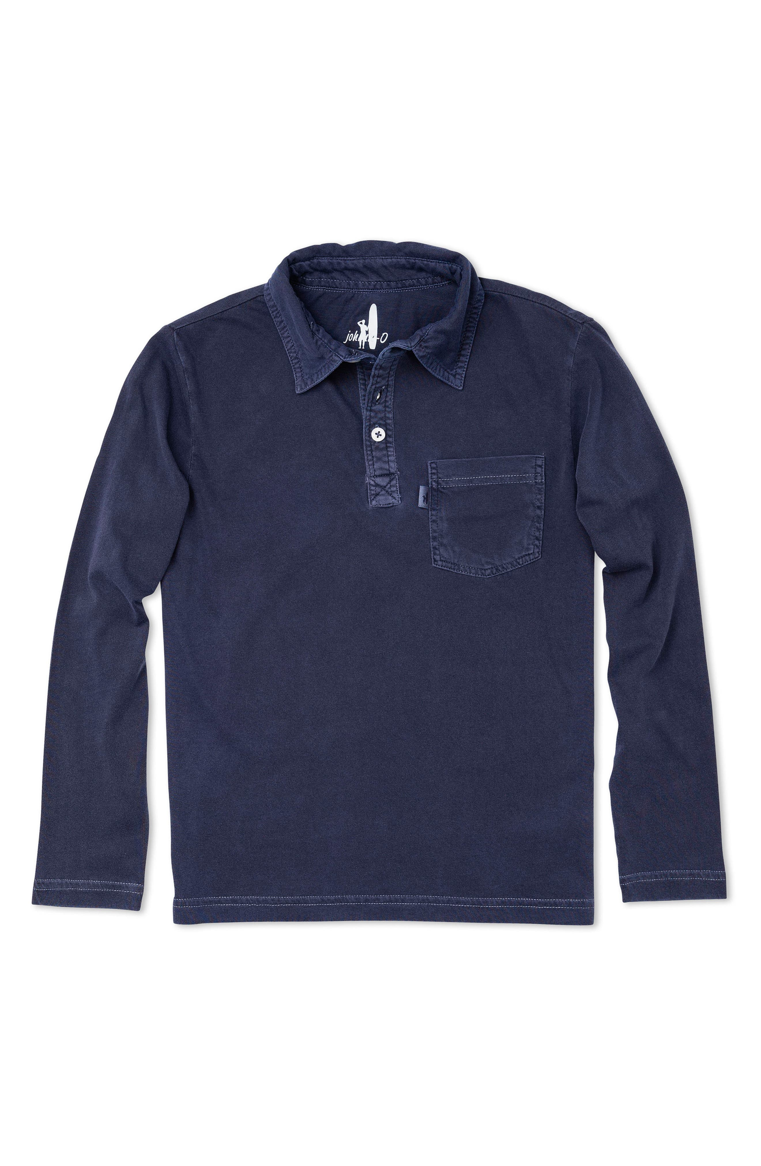 Carbon Long Sleeve Pocket Polo,                         Main,                         color, Abyss