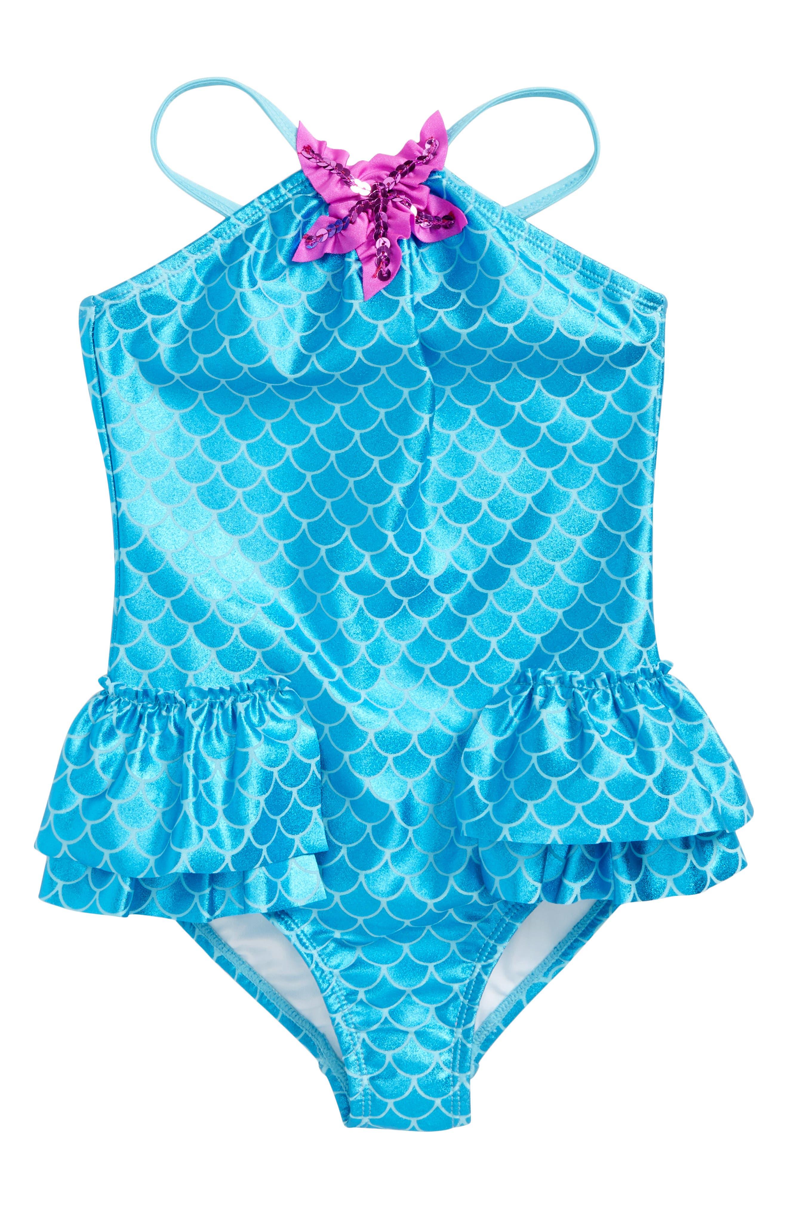 Main Image - Love U Lots Mermaid One-Piece Swimsuit (Toddler Girls & Little Girls)
