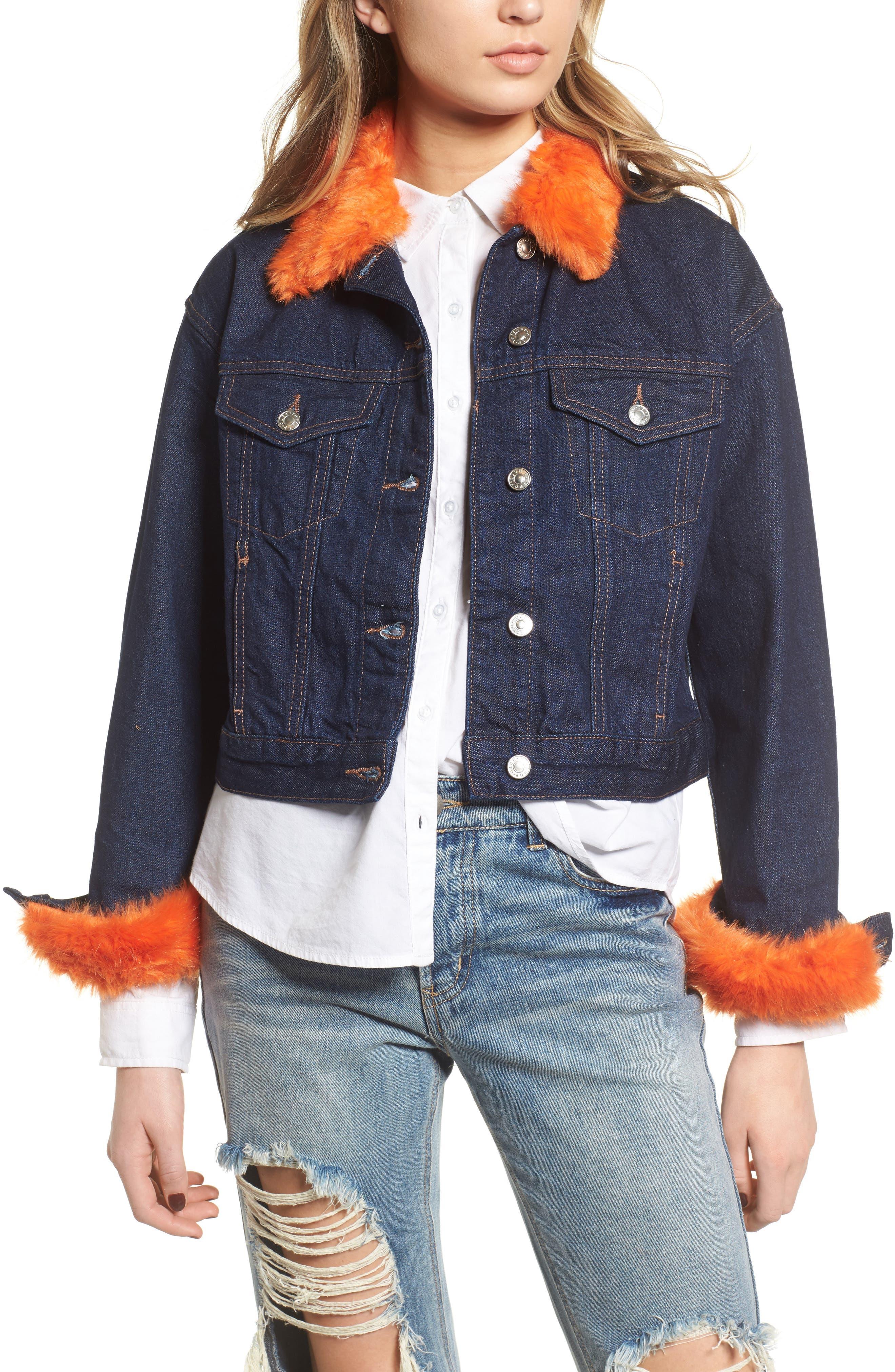 Tilda Faux Fur Trim Denim Jacket,                         Main,                         color, Indigo Multi