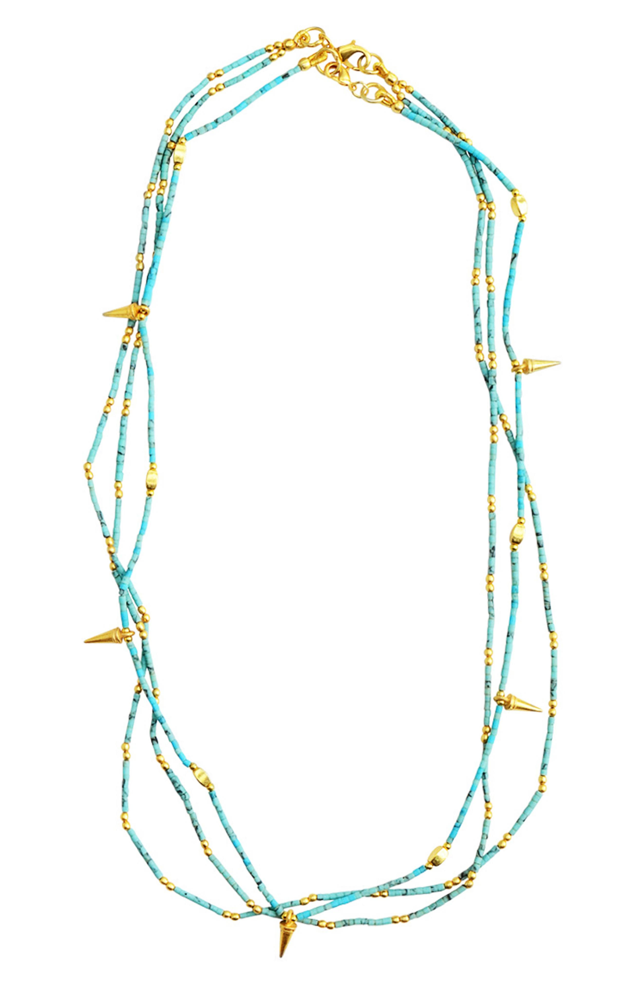 Fleur Set of 2 Necklaces,                             Main thumbnail 1, color,                             Turquoise