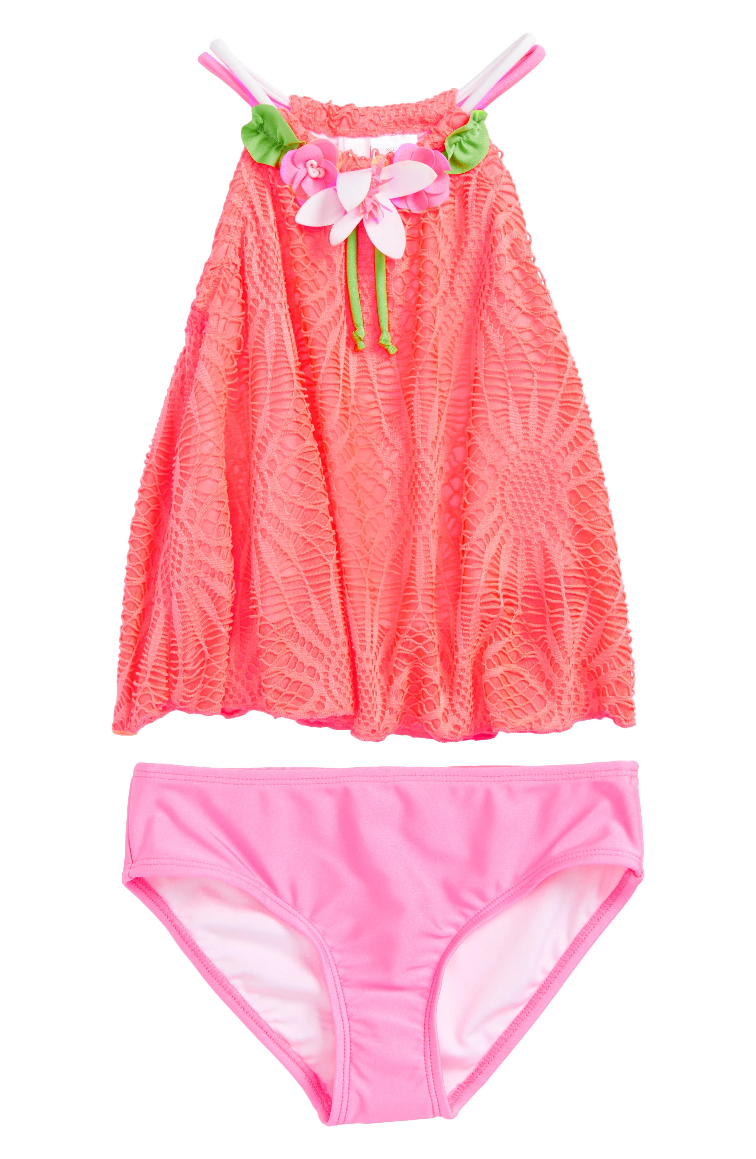 Crochet Tankini Two-Piece Swimsuit,                         Main,                         color, Coral Pink