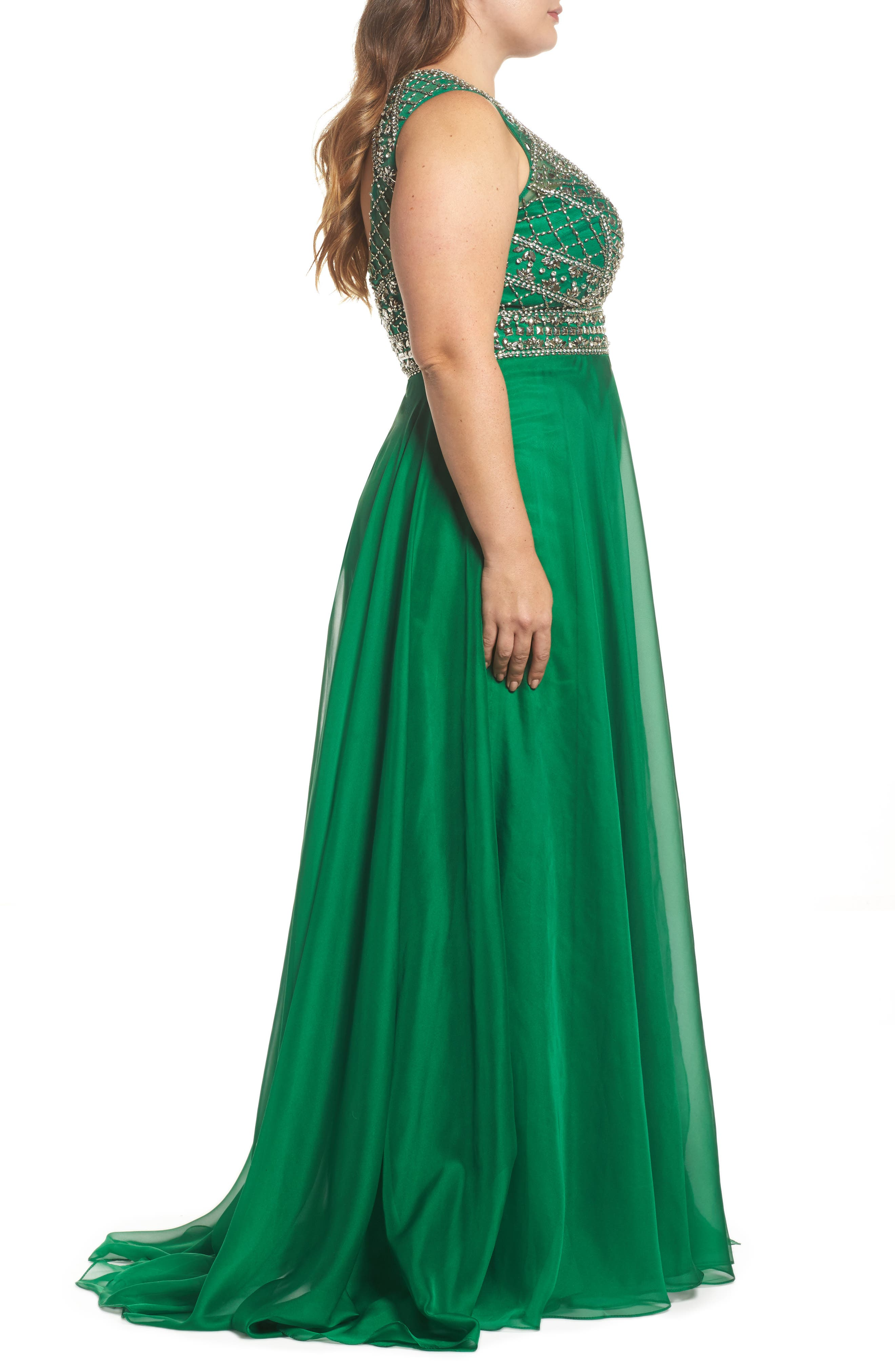 Embellished Ballgown,                             Alternate thumbnail 3, color,                             Emerald