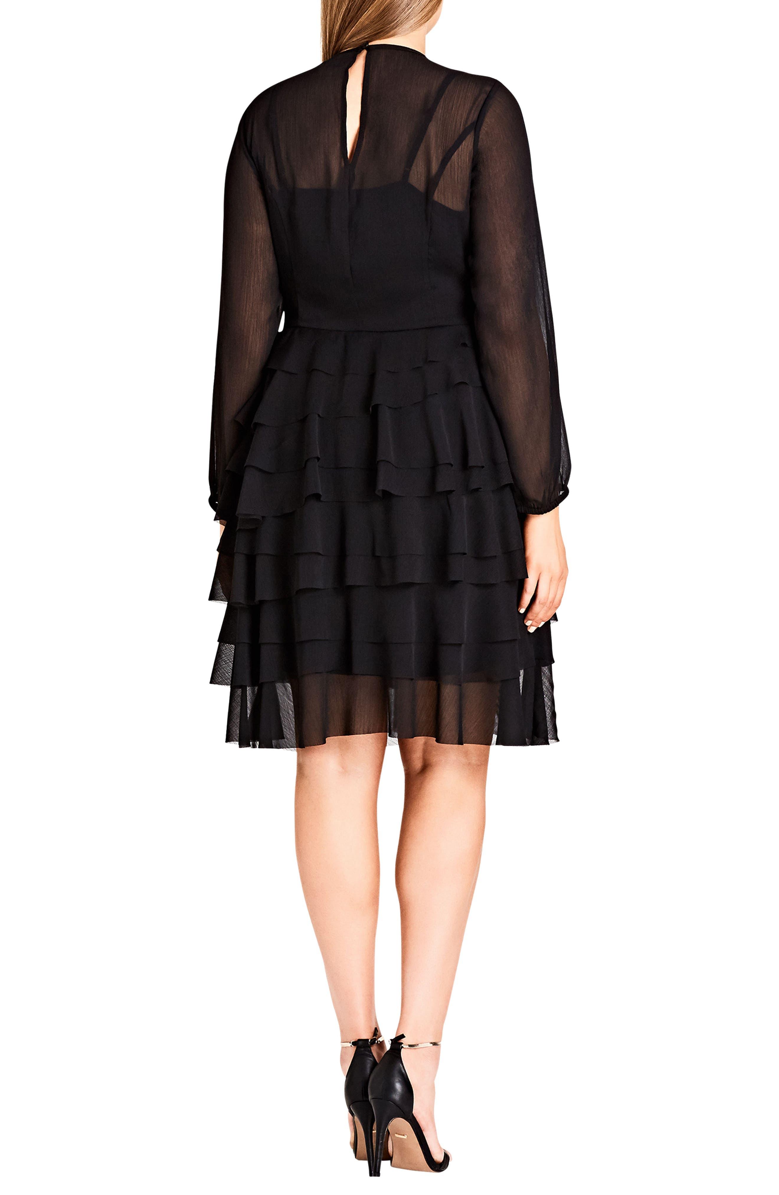 Tiered Love Ruffle Chiffon Dress,                             Alternate thumbnail 2, color,                             Black